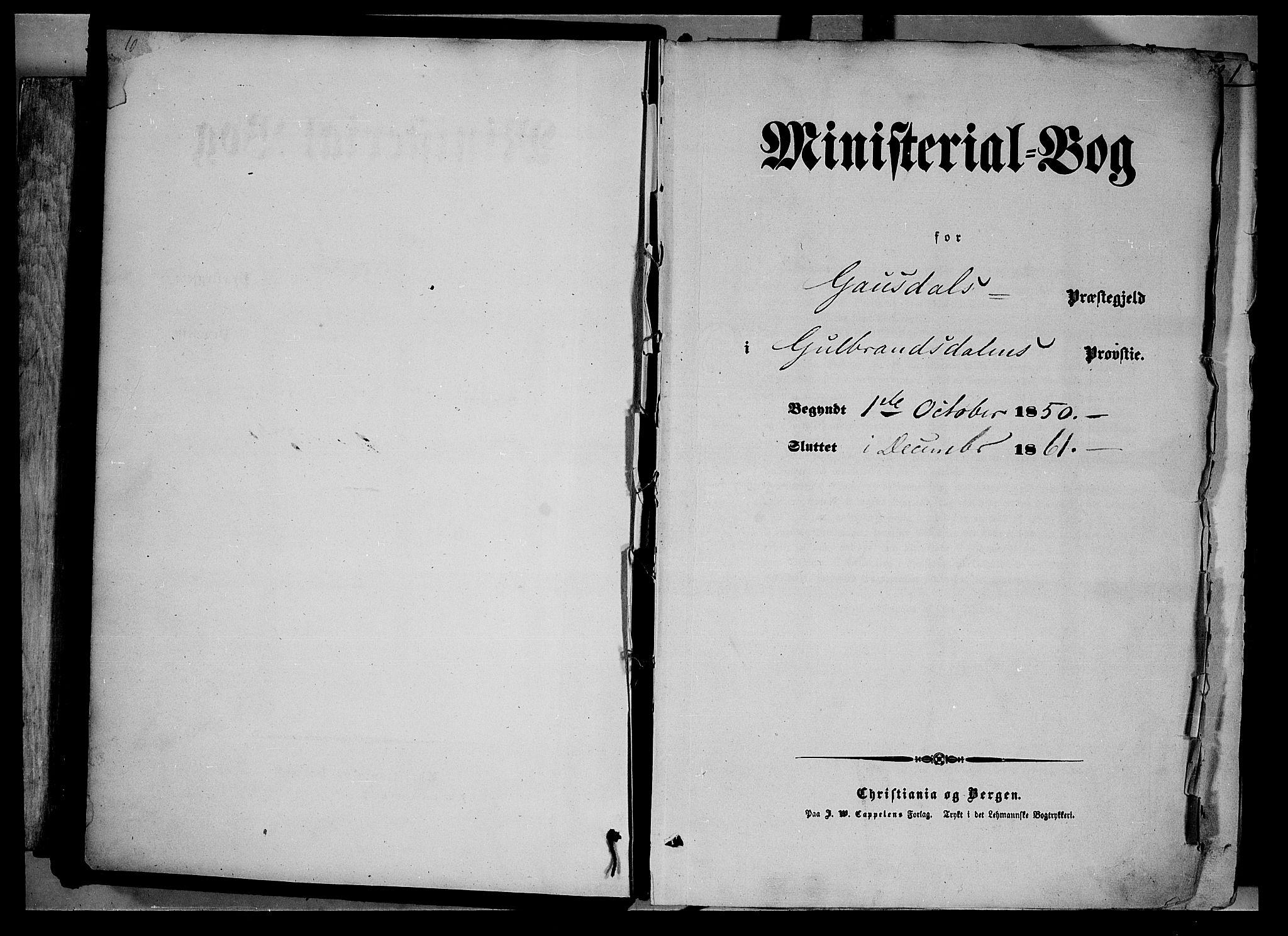 SAH, Gausdal prestekontor, Ministerialbok nr. 8, 1850-1861