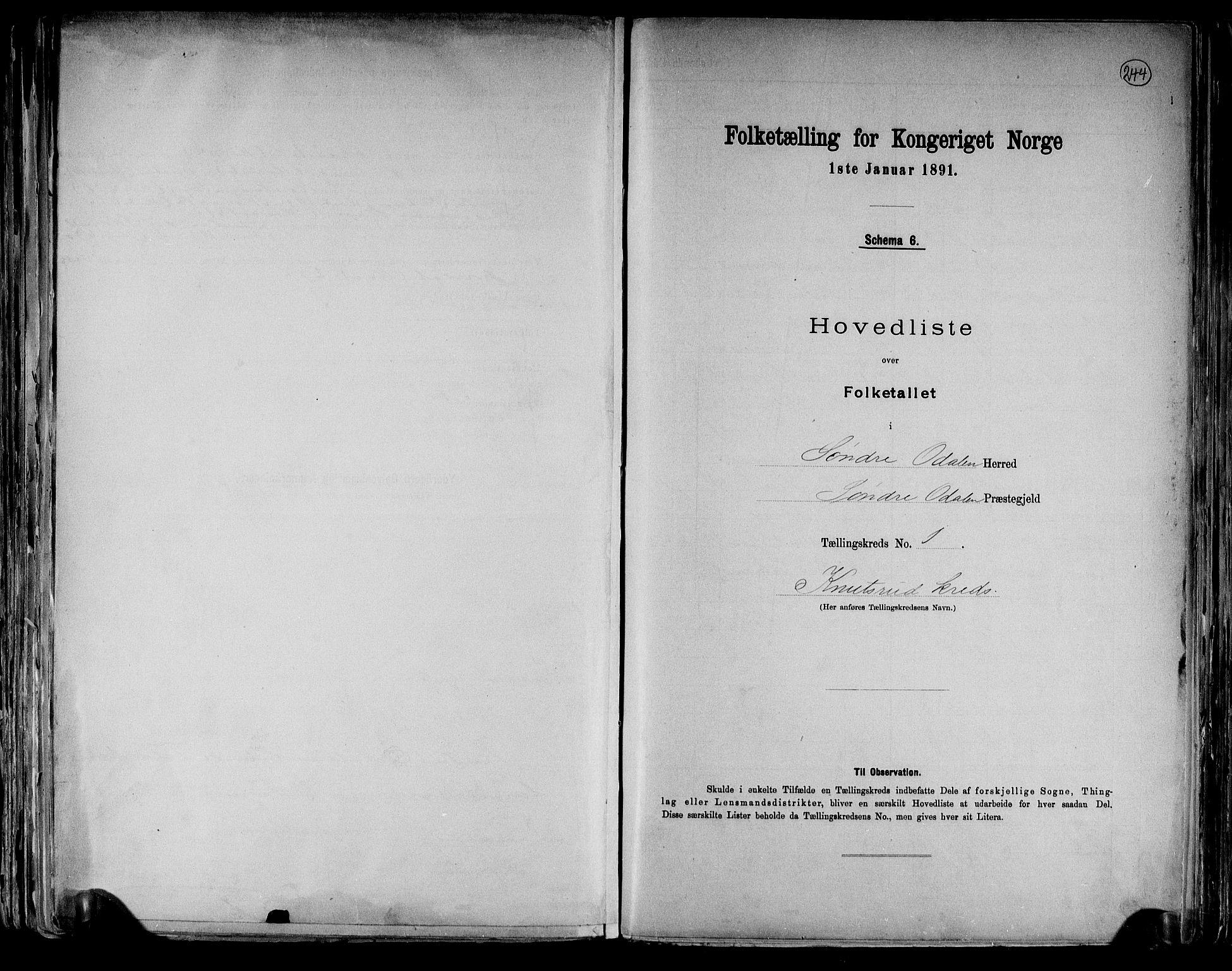 RA, Folketelling 1891 for 0419 Sør-Odal herred, 1891, s. 4