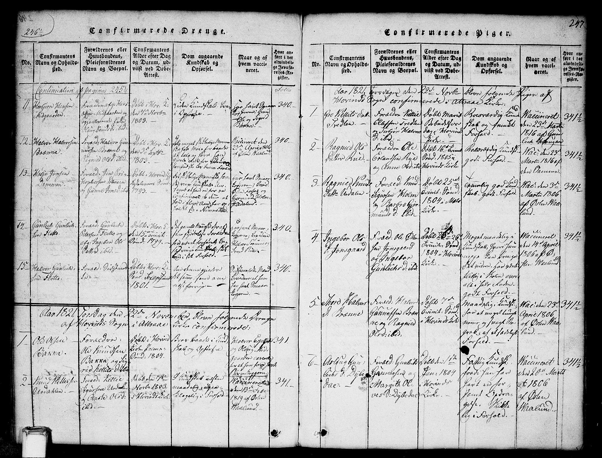SAKO, Gransherad kirkebøker, G/Gb/L0001: Klokkerbok nr. II 1, 1815-1860, s. 247