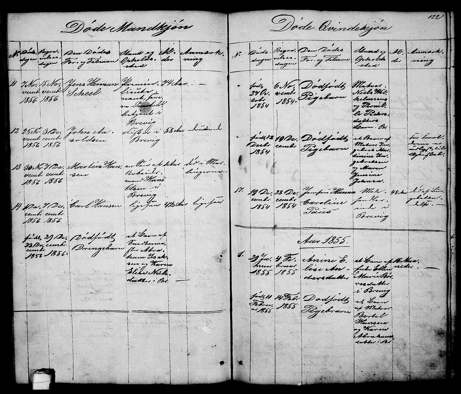 SAKO, Brevik kirkebøker, G/Ga/L0002: Klokkerbok nr. 2, 1846-1865, s. 122