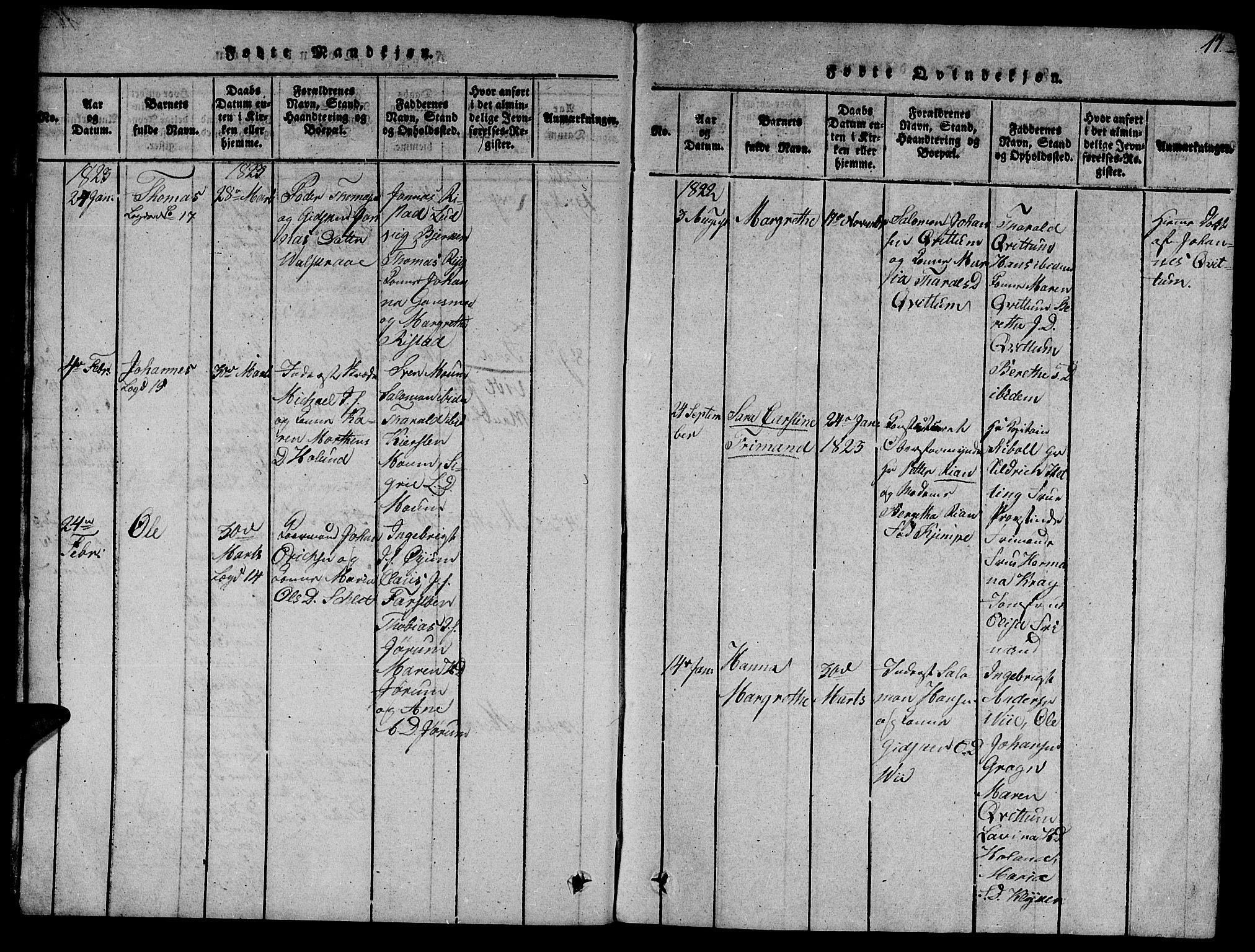 SAT, Ministerialprotokoller, klokkerbøker og fødselsregistre - Nord-Trøndelag, 758/L0521: Klokkerbok nr. 758C01, 1816-1825, s. 17