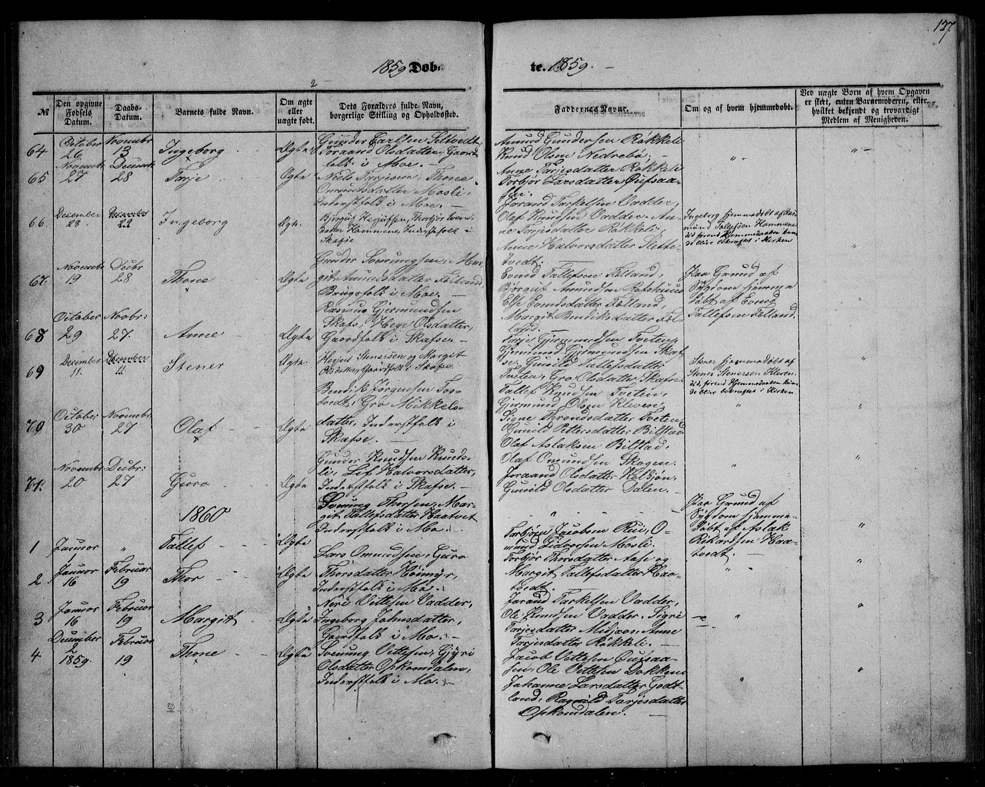 SAKO, Mo kirkebøker, F/Fa/L0005: Ministerialbok nr. I 5, 1844-1864, s. 127