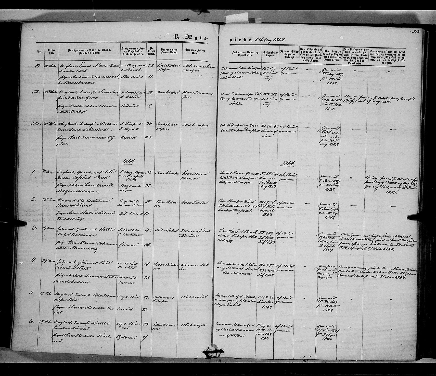 SAH, Vestre Toten prestekontor, Ministerialbok nr. 7, 1862-1869, s. 218