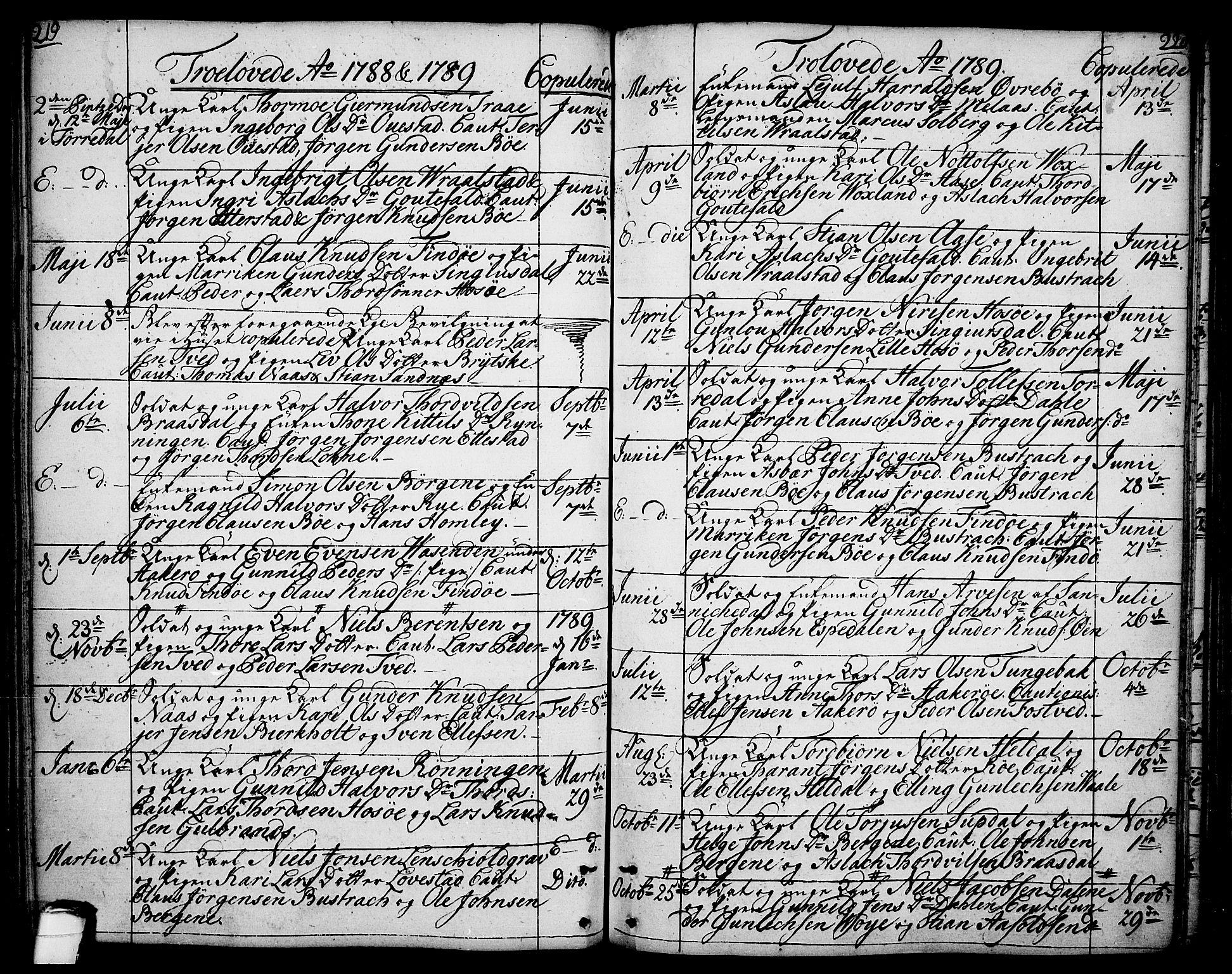 SAKO, Drangedal kirkebøker, F/Fa/L0003: Ministerialbok nr. 3, 1768-1814, s. 219-220