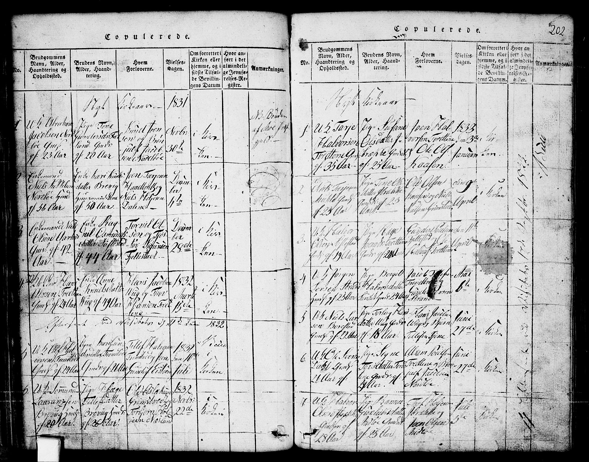 SAKO, Nissedal kirkebøker, G/Ga/L0001: Klokkerbok nr. I 1, 1814-1860, s. 202