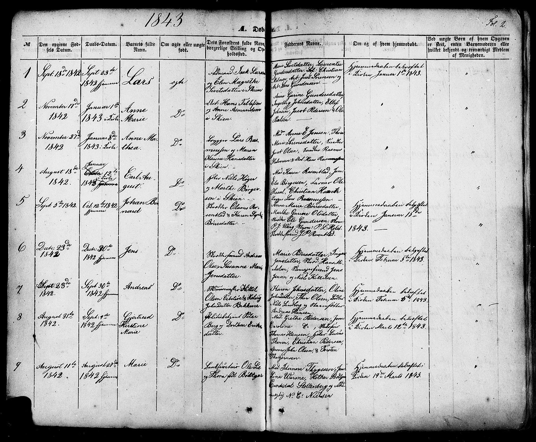 SAKO, Skien kirkebøker, F/Fa/L0006a: Ministerialbok nr. 6A, 1843-1856, s. 2