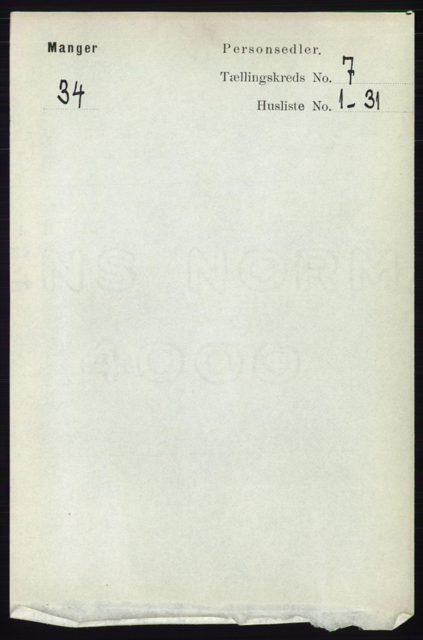 RA, Folketelling 1891 for 1261 Manger herred, 1891, s. 4358
