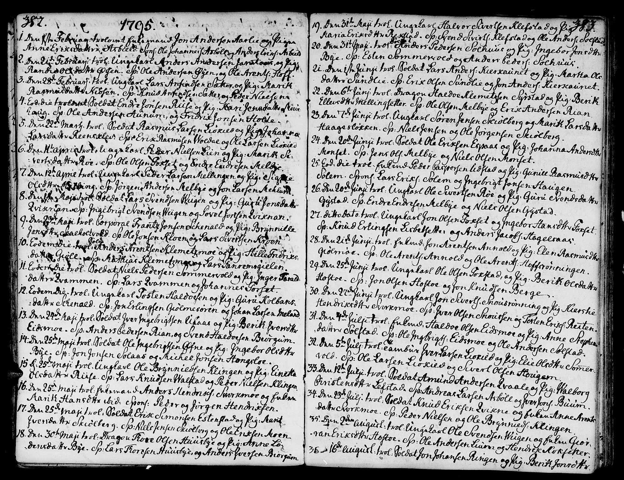 SAT, Ministerialprotokoller, klokkerbøker og fødselsregistre - Sør-Trøndelag, 668/L0802: Ministerialbok nr. 668A02, 1776-1799, s. 382-383