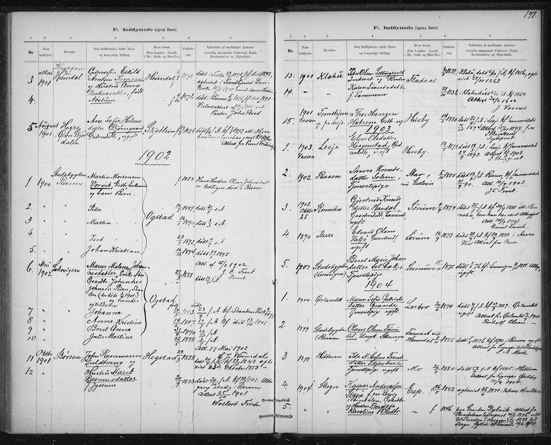 SAT, Ministerialprotokoller, klokkerbøker og fødselsregistre - Sør-Trøndelag, 613/L0392: Ministerialbok nr. 613A01, 1887-1906, s. 197