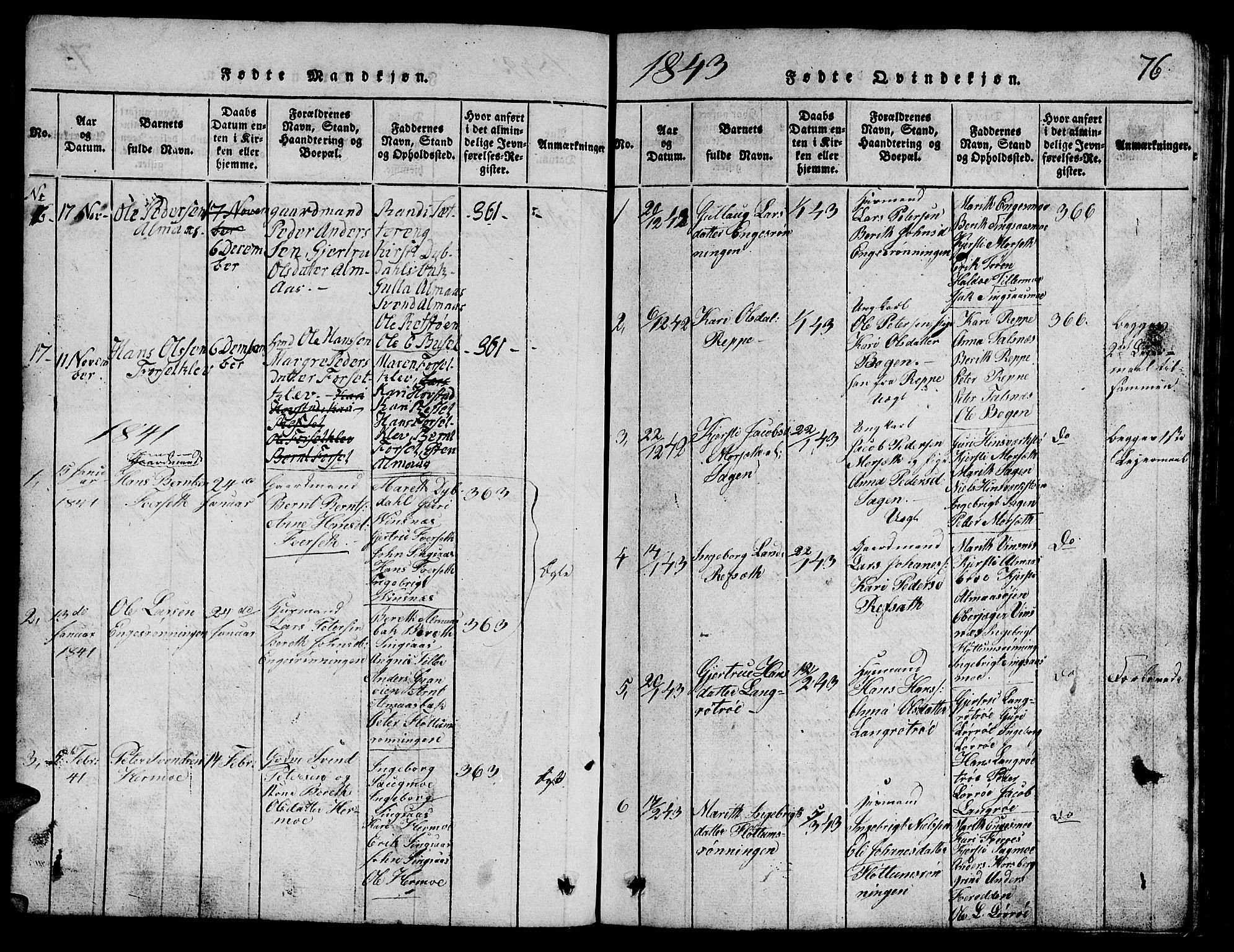 SAT, Ministerialprotokoller, klokkerbøker og fødselsregistre - Sør-Trøndelag, 688/L1026: Klokkerbok nr. 688C01, 1817-1860, s. 76