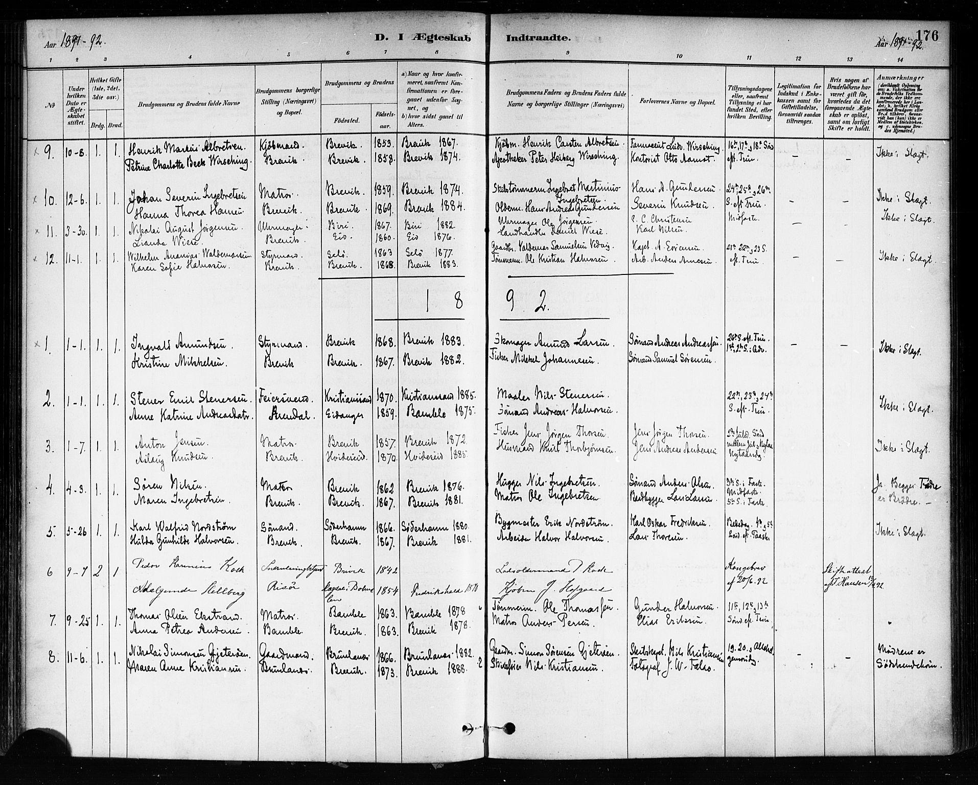 SAKO, Brevik kirkebøker, F/Fa/L0007: Ministerialbok nr. 7, 1882-1900, s. 176