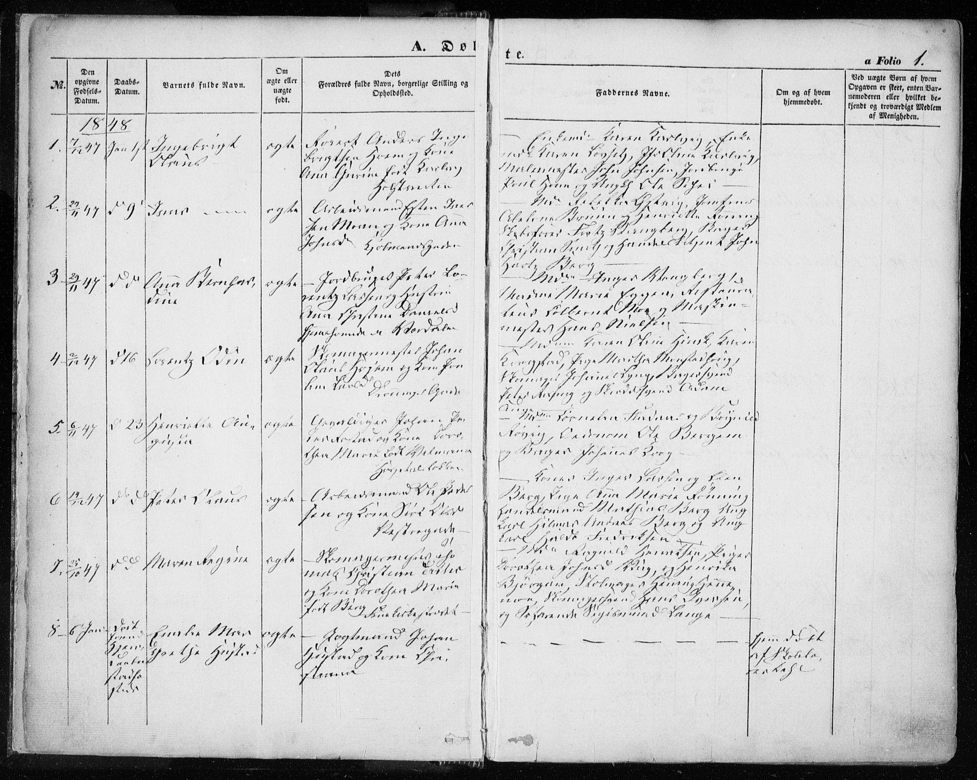 SAT, Ministerialprotokoller, klokkerbøker og fødselsregistre - Sør-Trøndelag, 601/L0051: Ministerialbok nr. 601A19, 1848-1857, s. 1