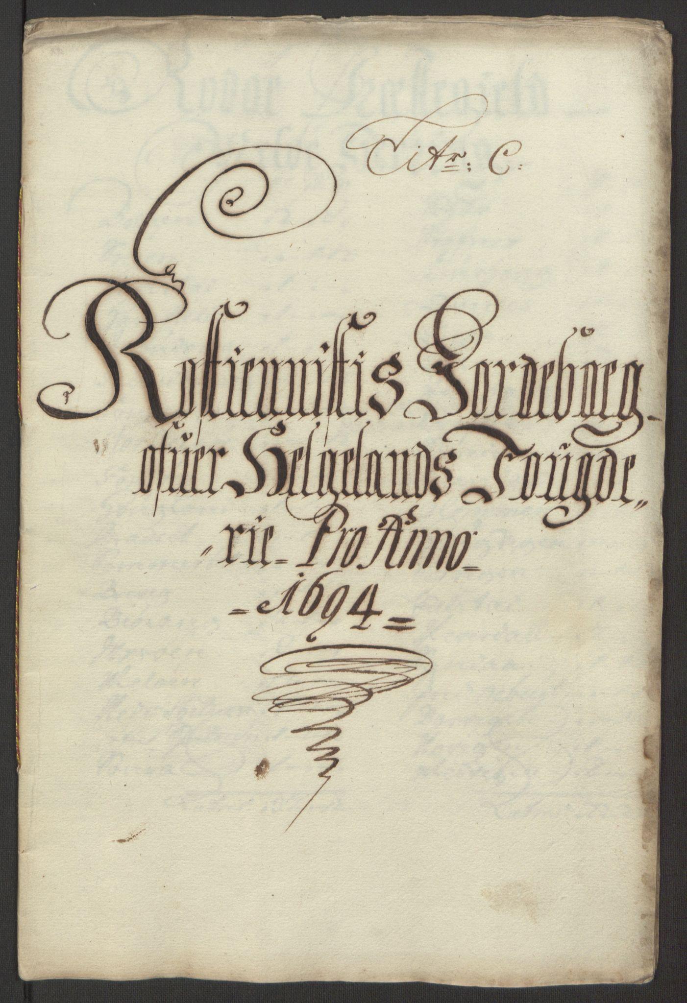 RA, Rentekammeret inntil 1814, Reviderte regnskaper, Fogderegnskap, R65/L4505: Fogderegnskap Helgeland, 1693-1696, s. 229