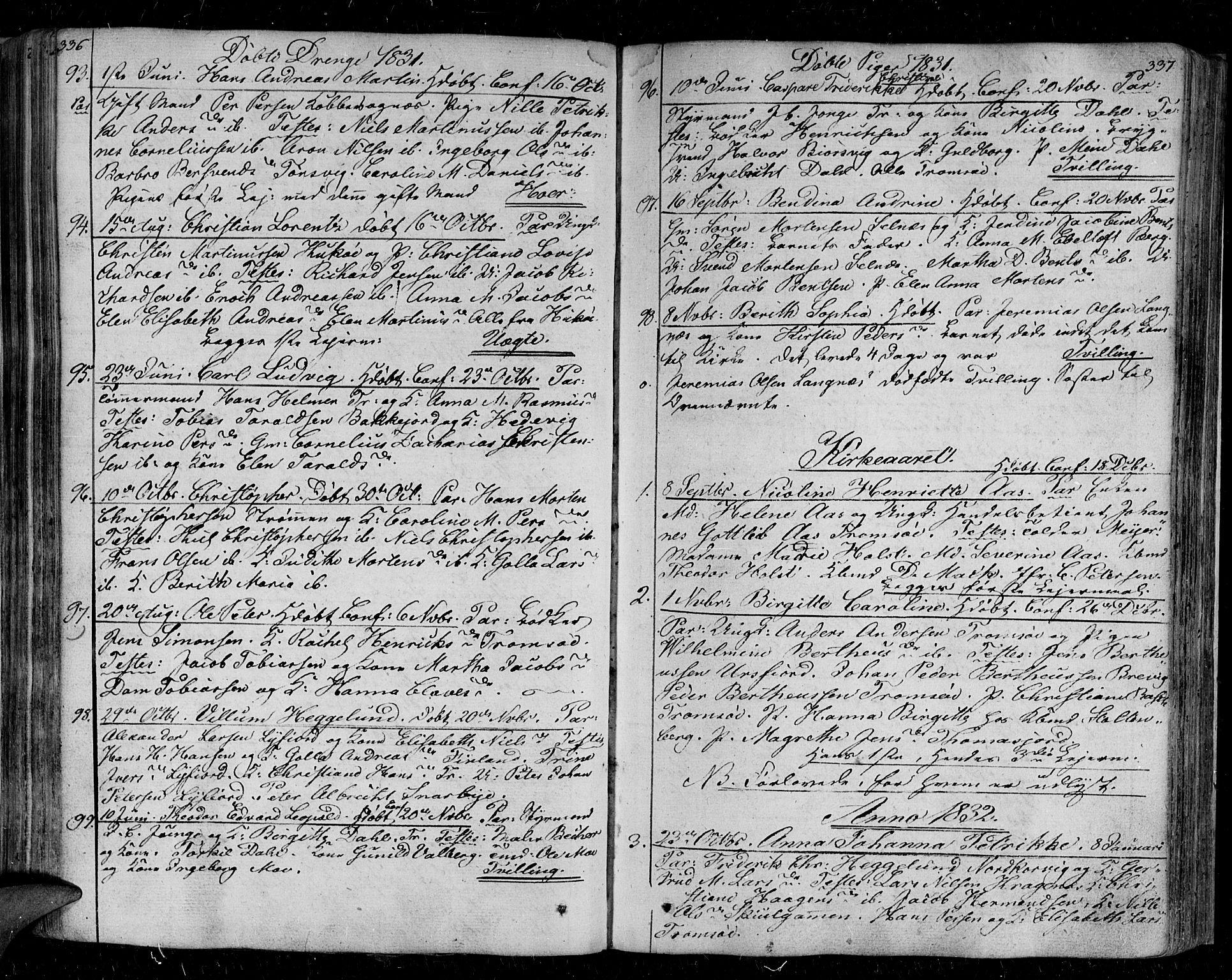 SATØ, Tromsø sokneprestkontor/stiftsprosti/domprosti, G/Ga/L0008kirke: Ministerialbok nr. 8, 1829-1837, s. 336-337