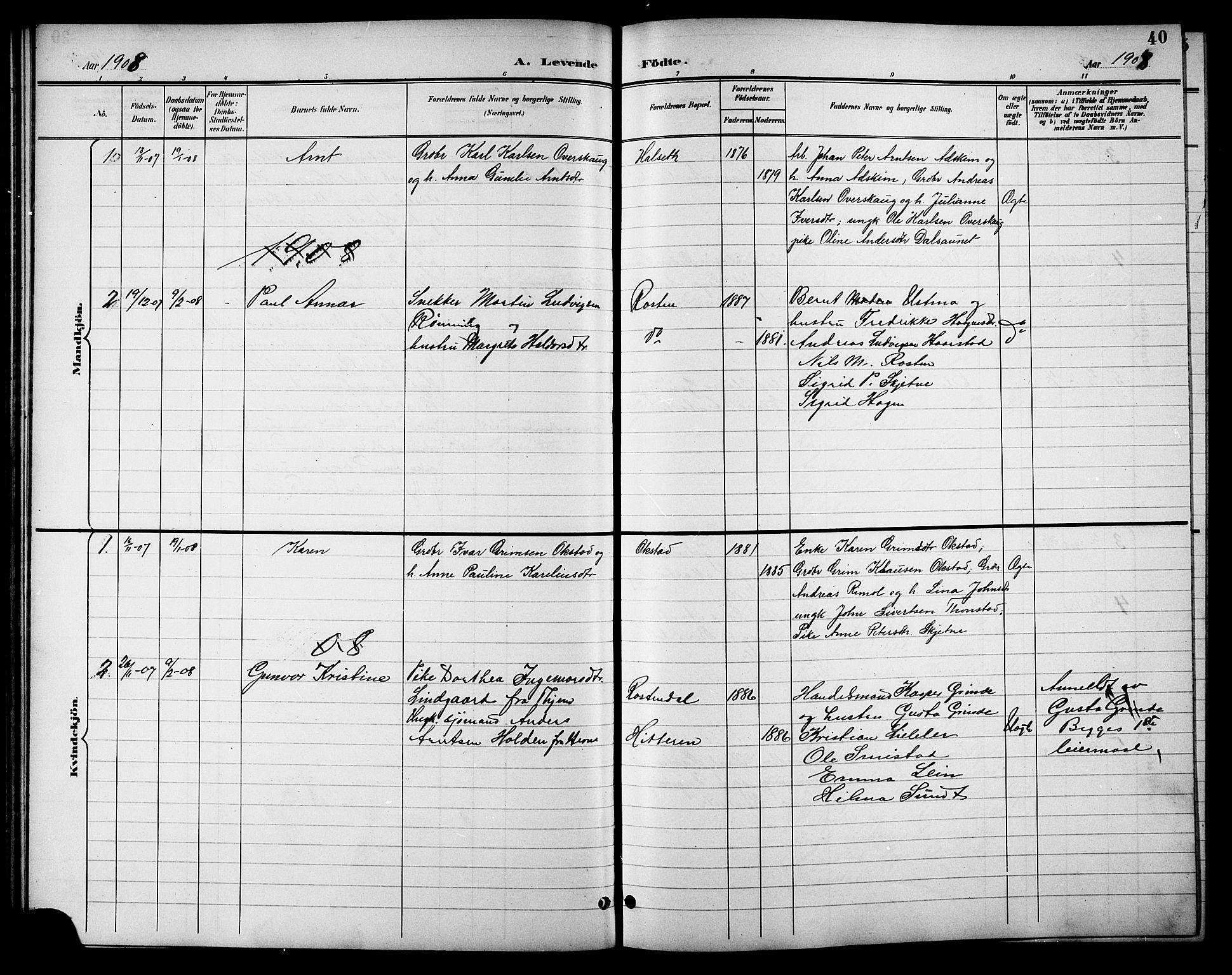 SAT, Ministerialprotokoller, klokkerbøker og fødselsregistre - Sør-Trøndelag, 621/L0460: Klokkerbok nr. 621C03, 1896-1914, s. 40
