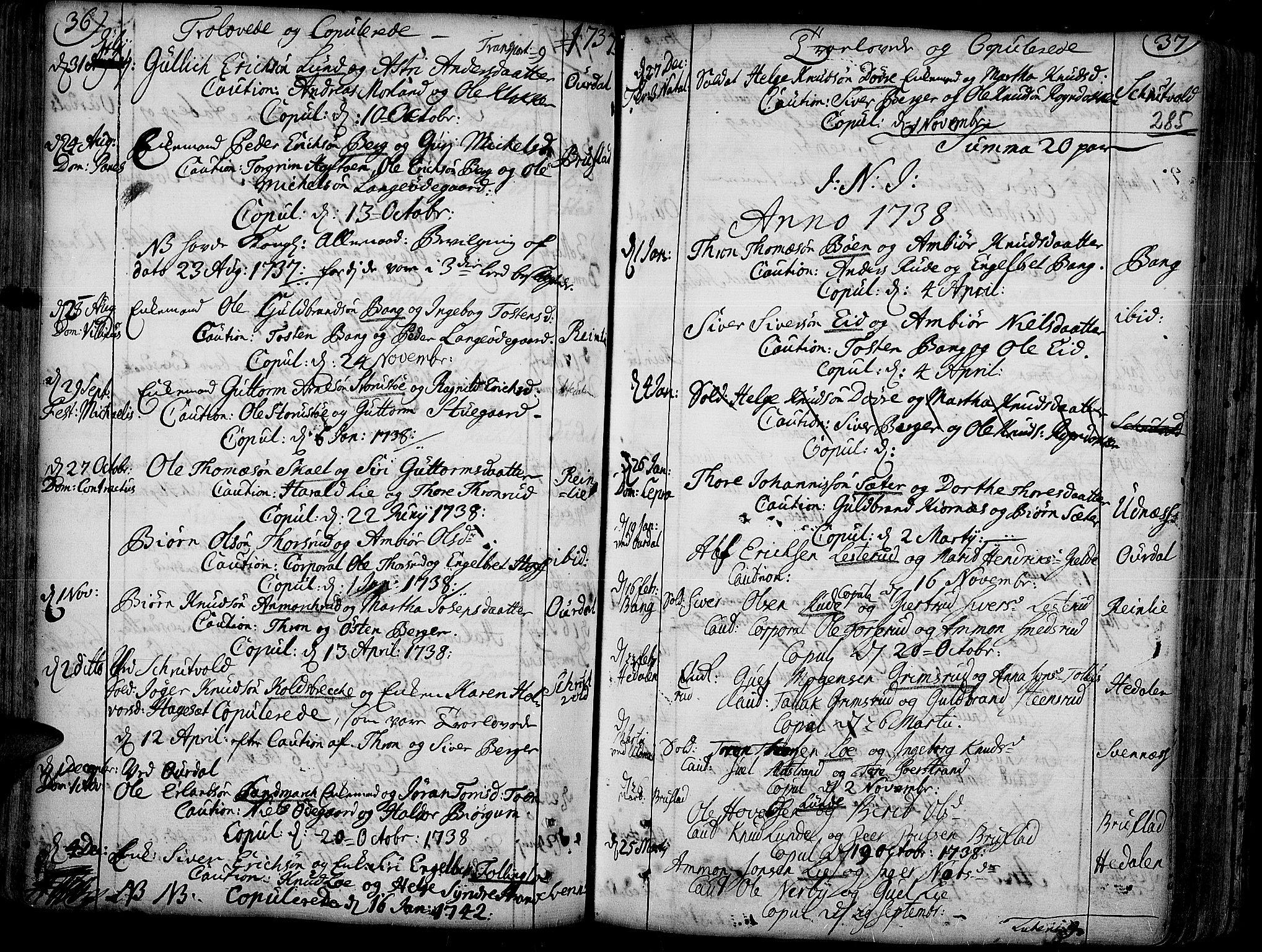 SAH, Aurdal prestekontor, Ministerialbok nr. 4, 1730-1762, s. 36-37