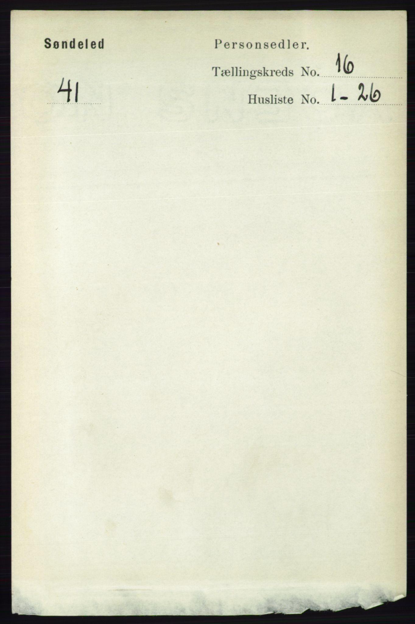 RA, Folketelling 1891 for 0913 Søndeled herred, 1891, s. 4520