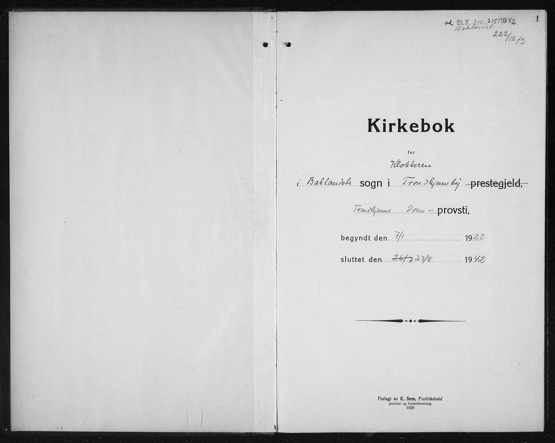SAT, Ministerialprotokoller, klokkerbøker og fødselsregistre - Sør-Trøndelag, 604/L0227: Klokkerbok nr. 604C10, 1923-1942, s. 1