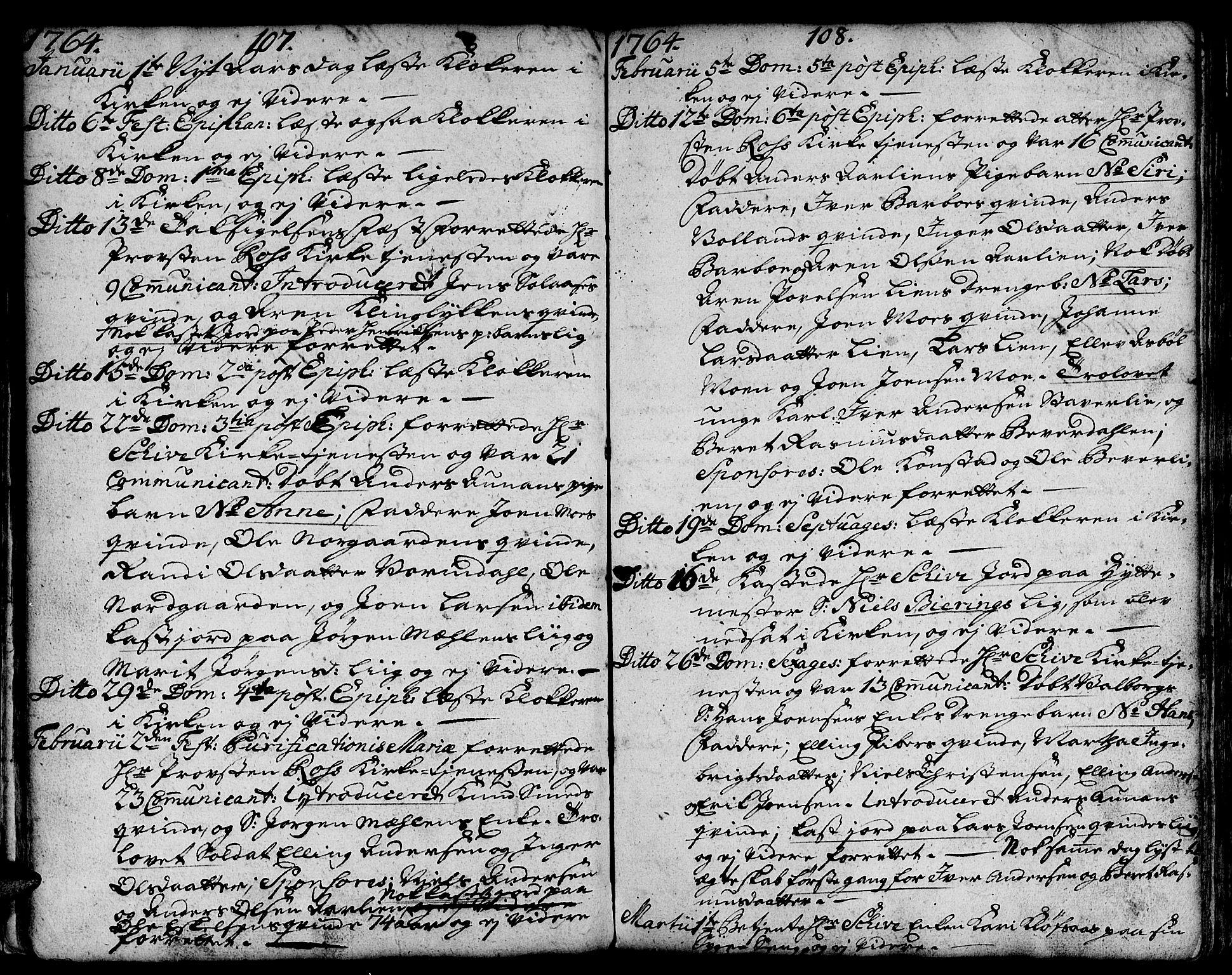 SAT, Ministerialprotokoller, klokkerbøker og fødselsregistre - Sør-Trøndelag, 671/L0840: Ministerialbok nr. 671A02, 1756-1794, s. 107-108