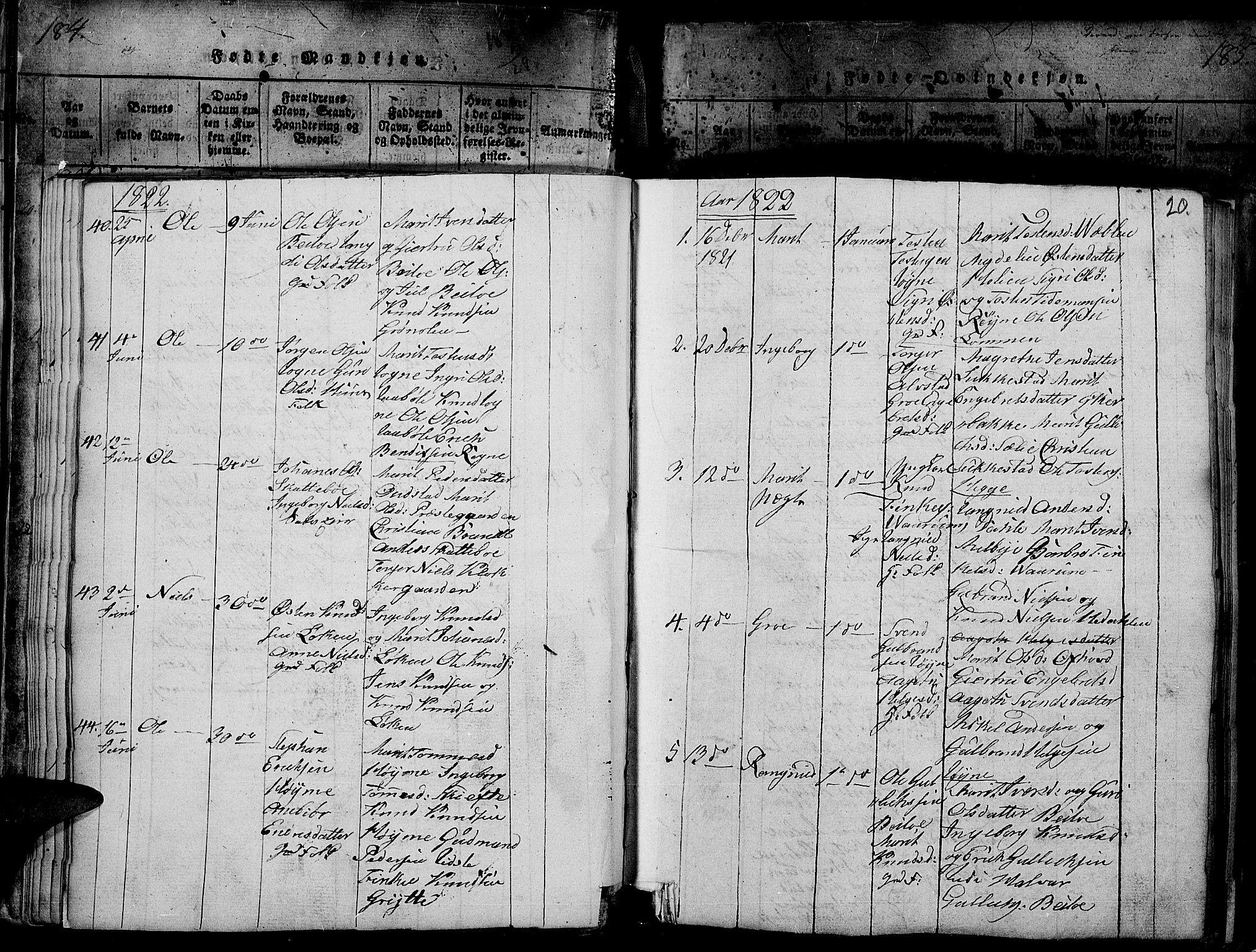 SAH, Slidre prestekontor, Ministerialbok nr. 2, 1814-1830, s. 184t