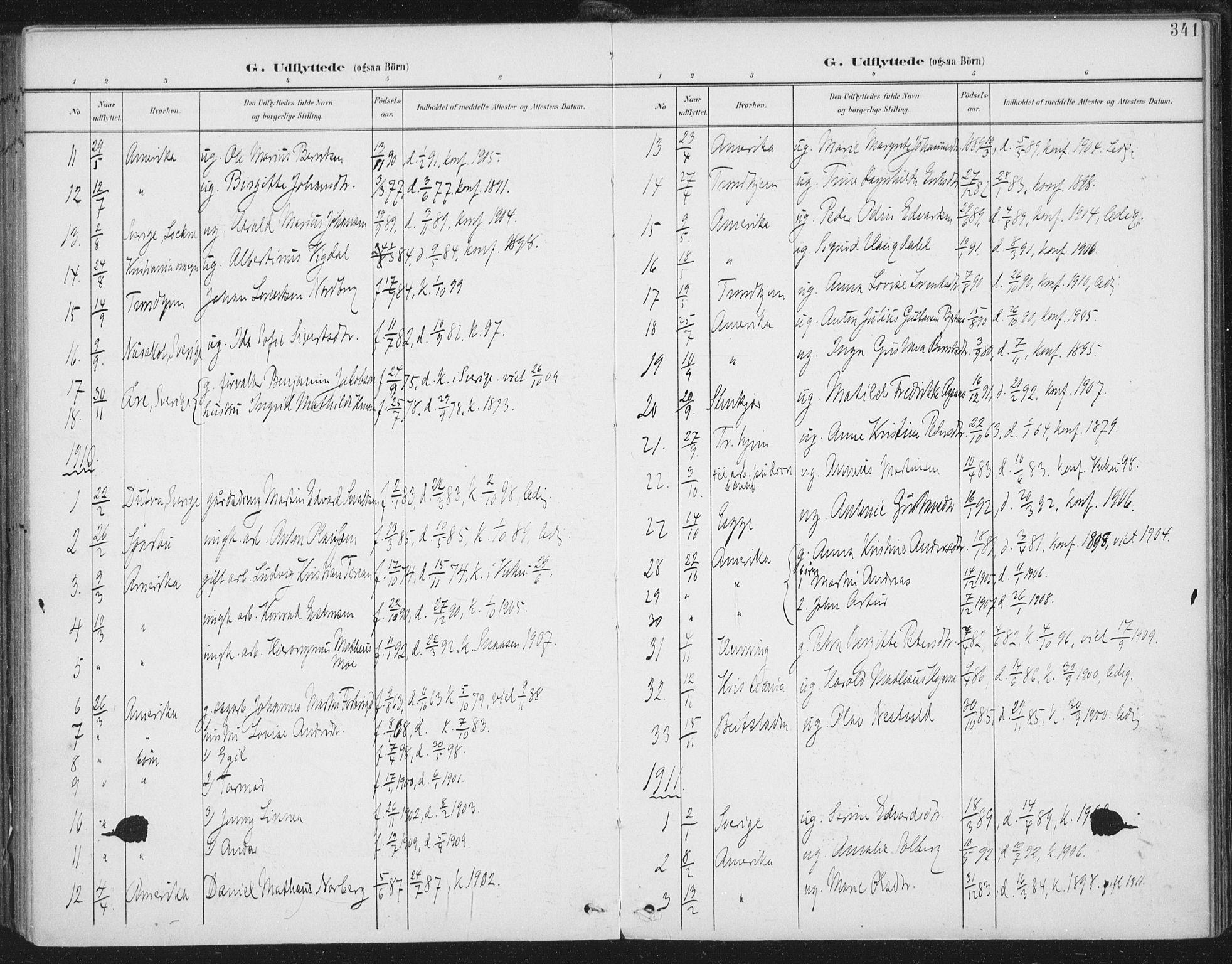 SAT, Ministerialprotokoller, klokkerbøker og fødselsregistre - Nord-Trøndelag, 723/L0246: Ministerialbok nr. 723A15, 1900-1917, s. 341