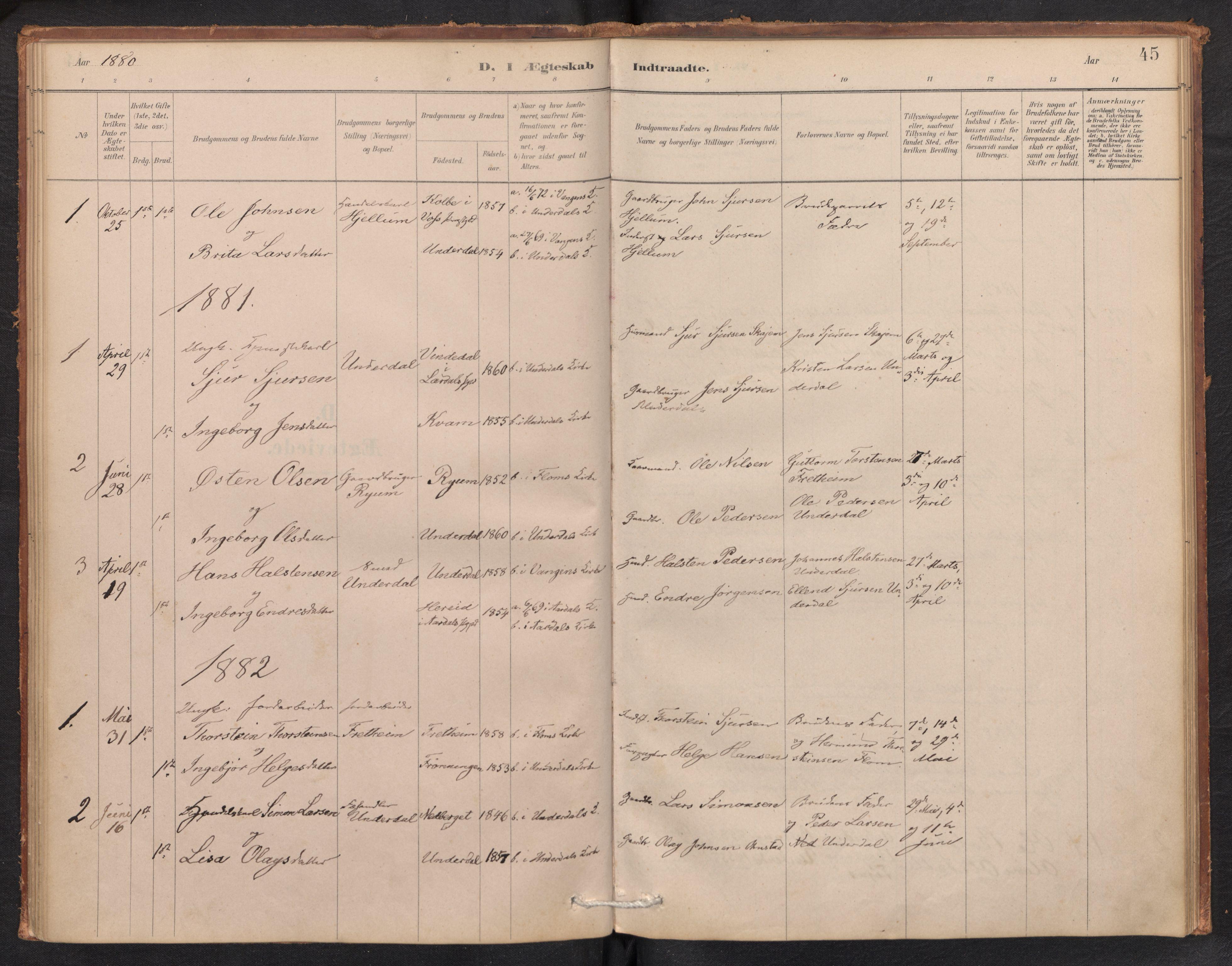 SAB, Aurland Sokneprestembete*, Ministerialbok nr. E 1, 1880-1907, s. 44b-45a