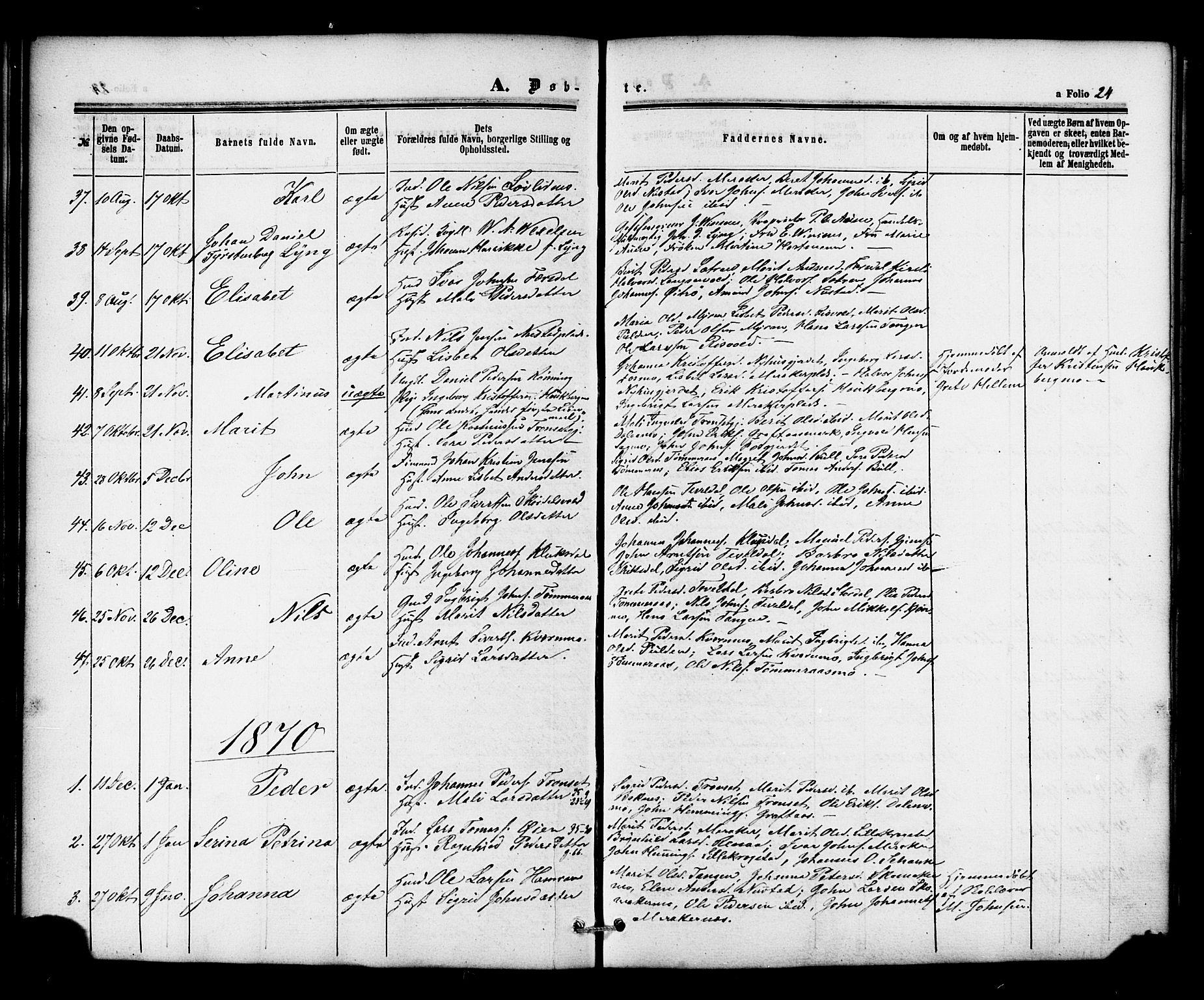 SAT, Ministerialprotokoller, klokkerbøker og fødselsregistre - Nord-Trøndelag, 706/L0041: Ministerialbok nr. 706A02, 1862-1877, s. 24