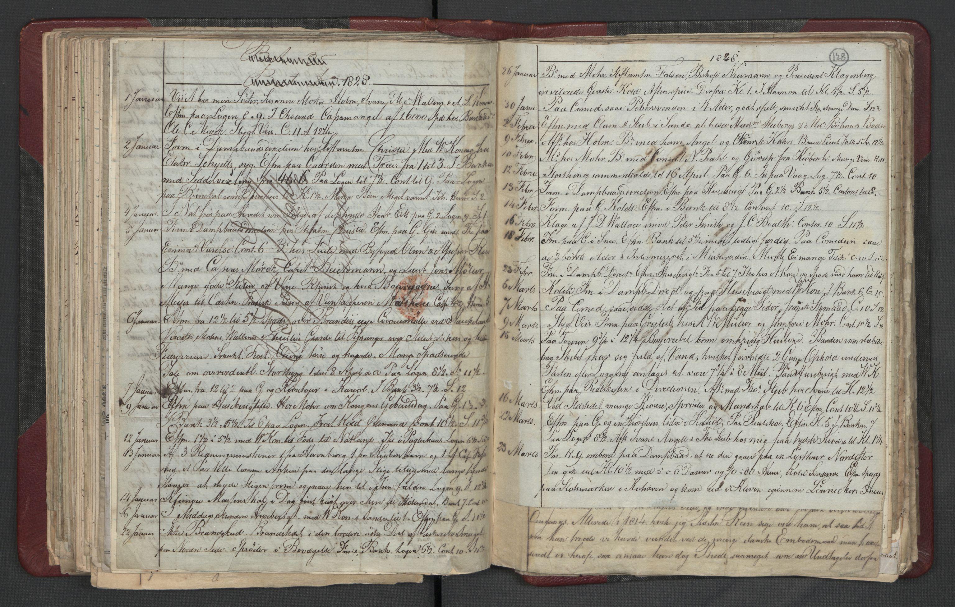 RA, Meltzer, Fredrik, F/L0003: Dagbok, 1821-1831, s. 127b-128a