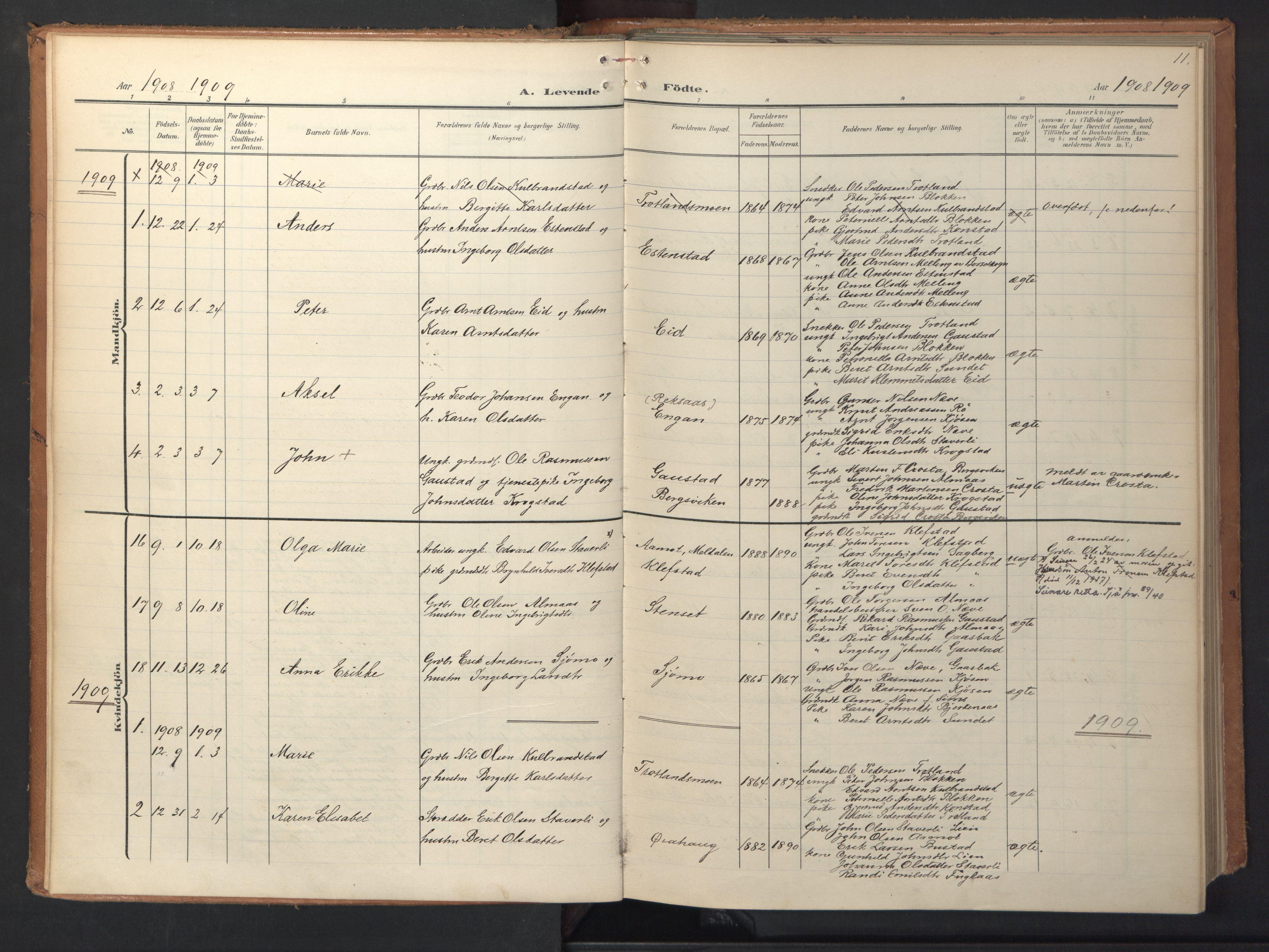 SAT, Ministerialprotokoller, klokkerbøker og fødselsregistre - Sør-Trøndelag, 694/L1128: Ministerialbok nr. 694A02, 1906-1931, s. 11