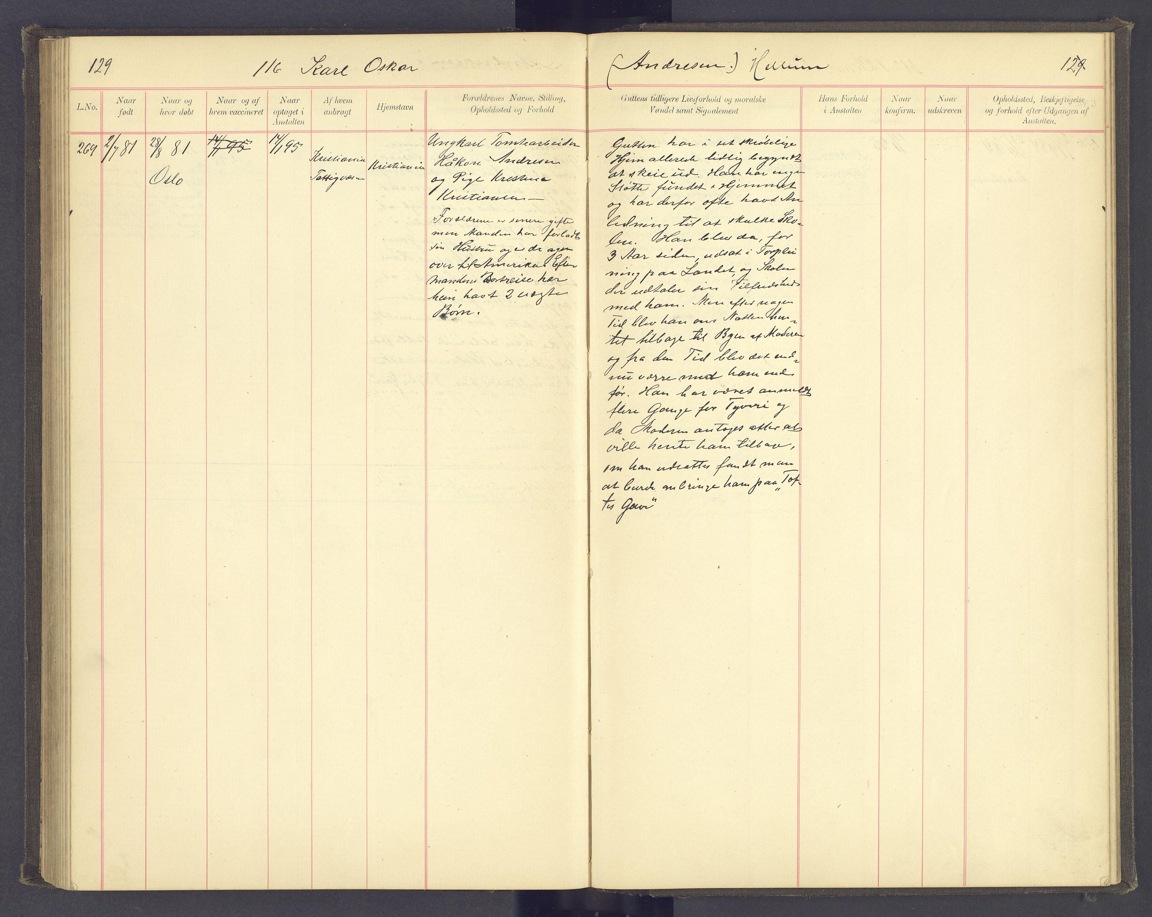 SAH, Toftes Gave, F/Fc/L0004: Elevprotokoll, 1885-1897, s. 129