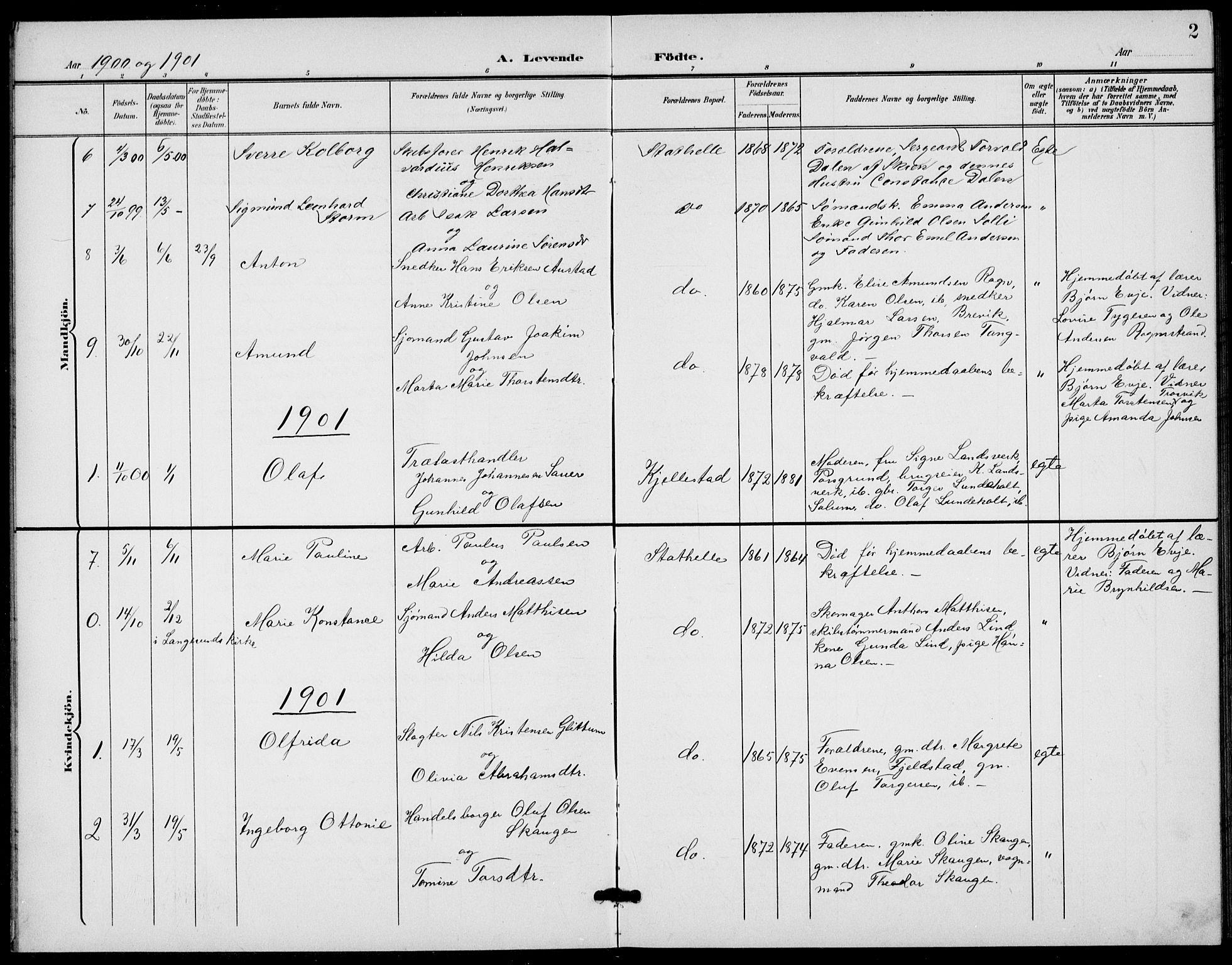 SAKO, Bamble kirkebøker, G/Gb/L0002: Klokkerbok nr. II 2, 1900-1925, s. 2