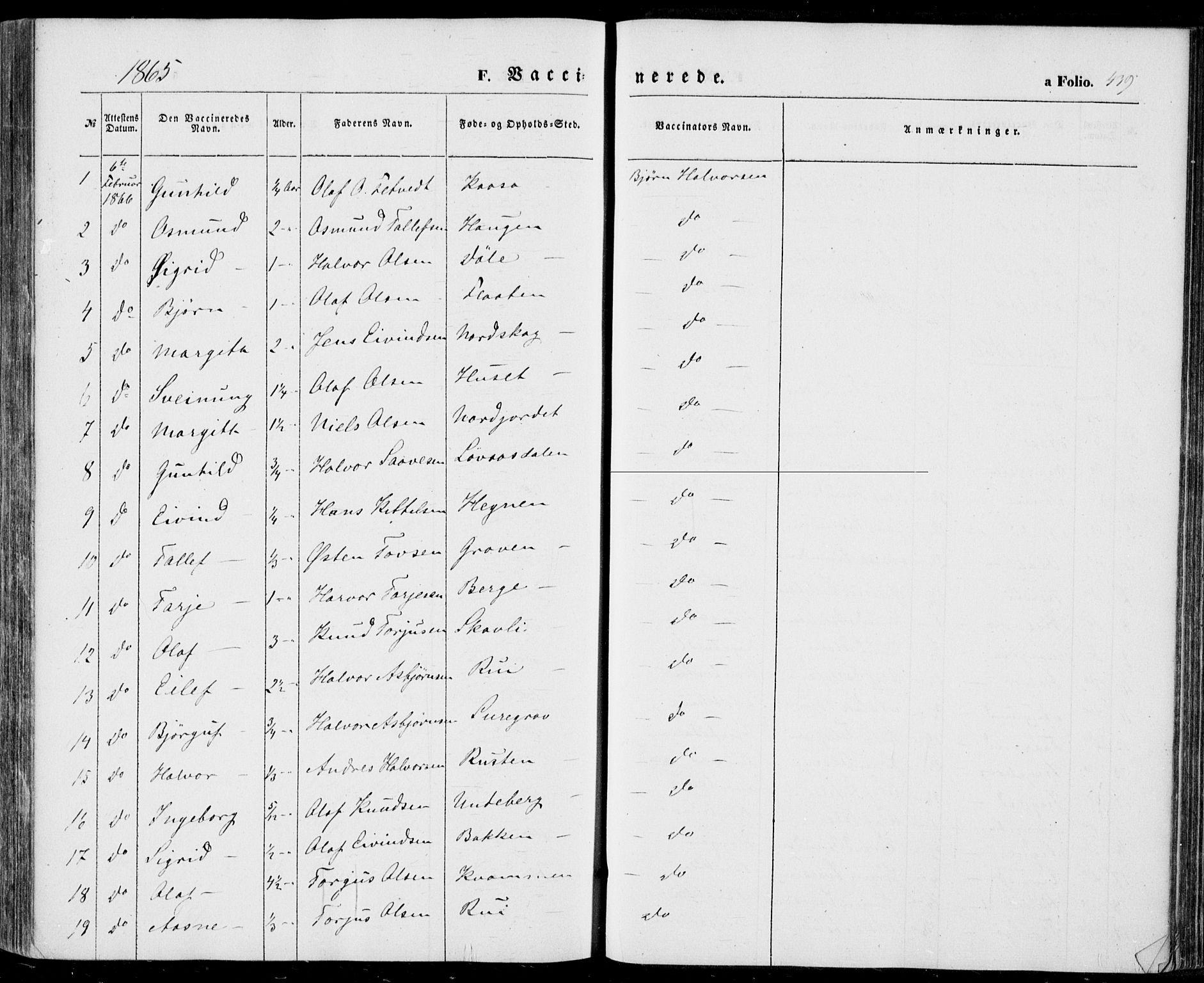 SAKO, Vinje kirkebøker, F/Fa/L0004: Ministerialbok nr. I 4, 1843-1869, s. 439