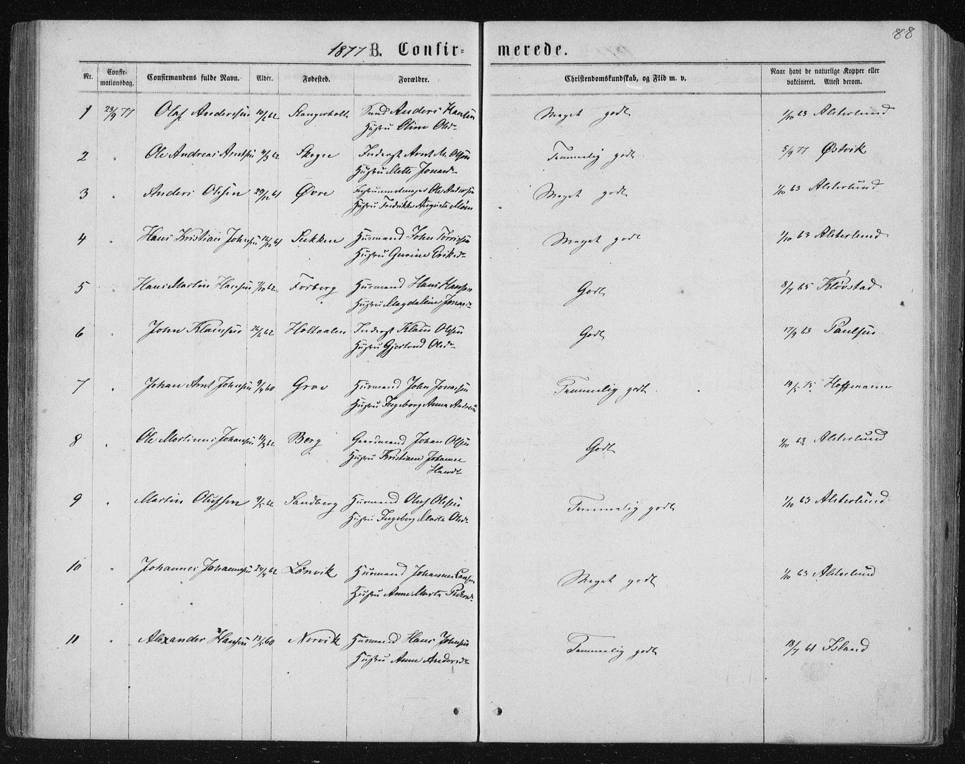 SAT, Ministerialprotokoller, klokkerbøker og fødselsregistre - Nord-Trøndelag, 722/L0219: Ministerialbok nr. 722A06, 1868-1880, s. 88