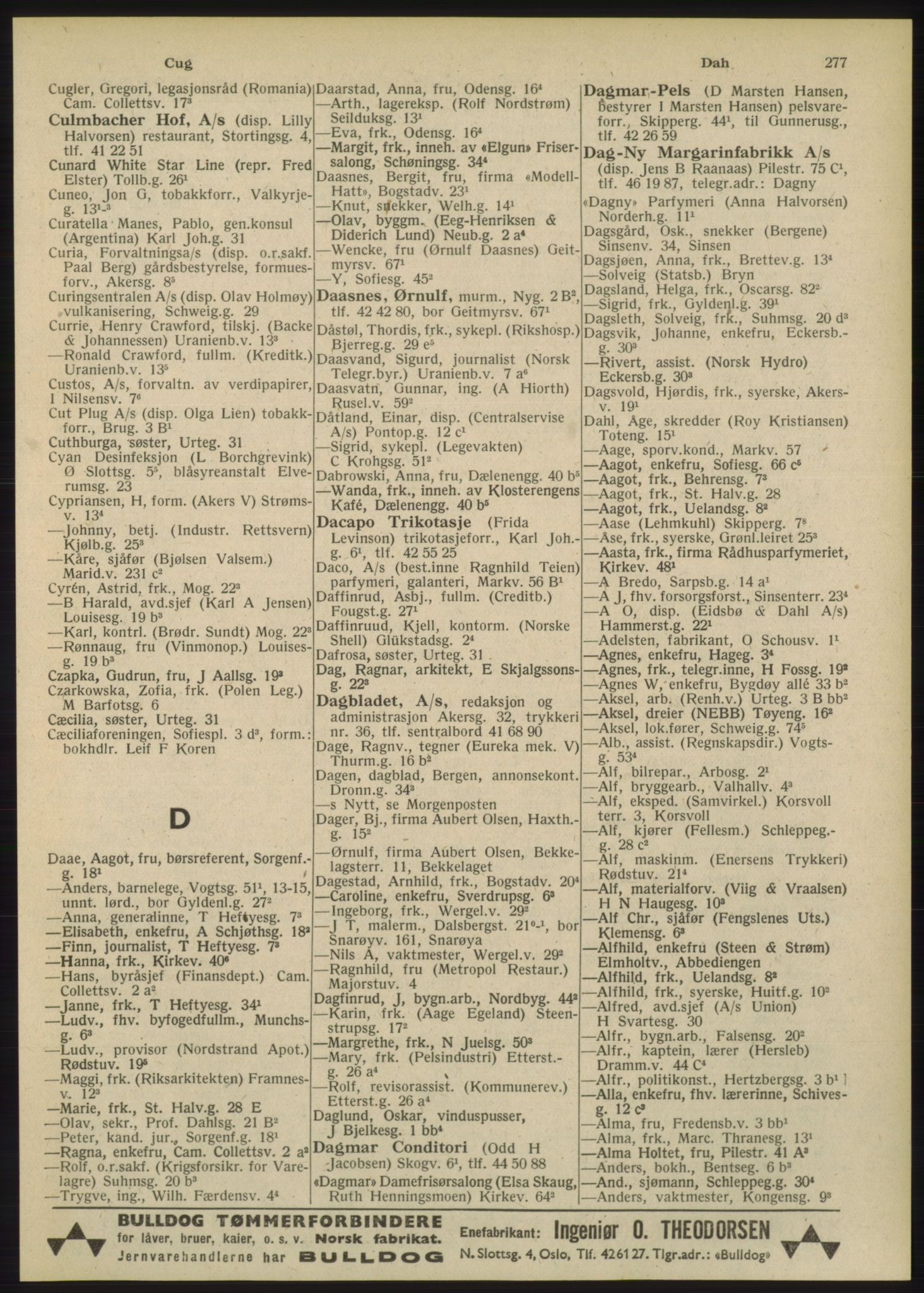 PUBL, Kristiania/Oslo adressebok, 1948, s. 277