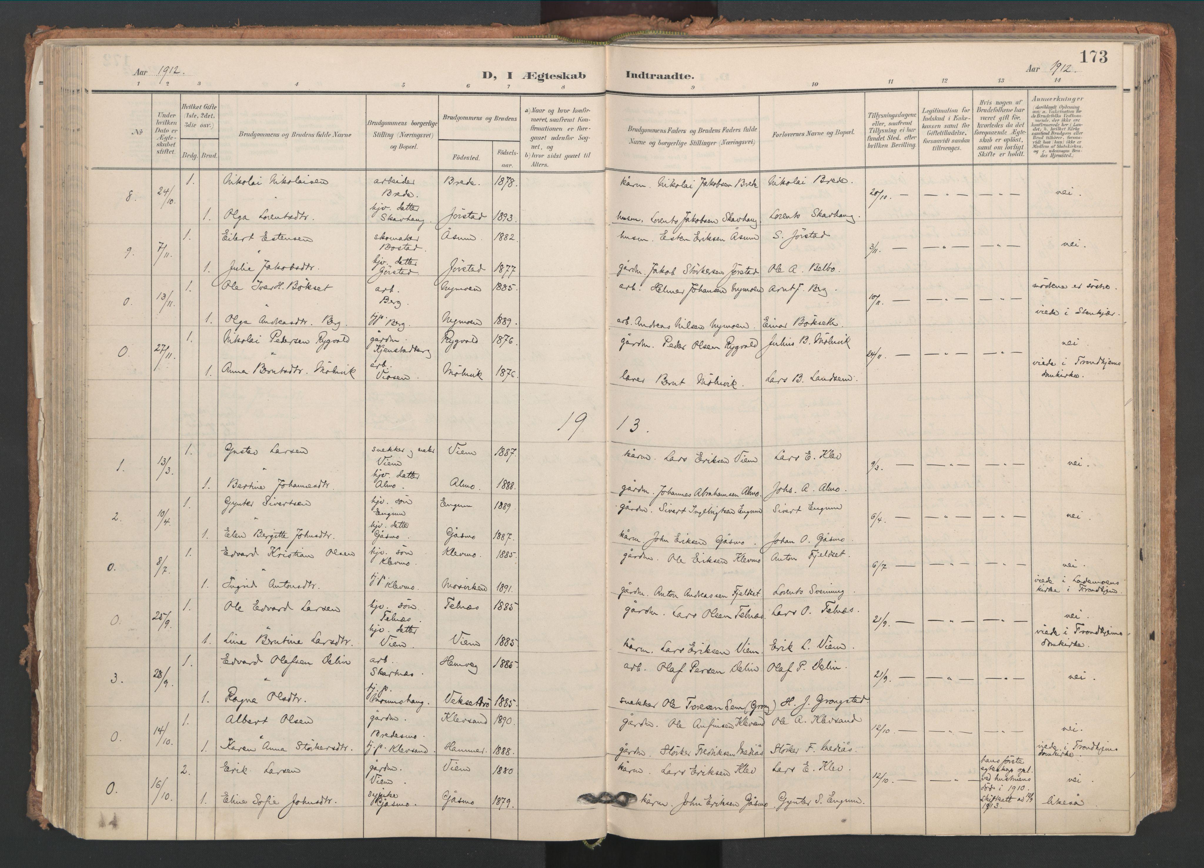 SAT, Ministerialprotokoller, klokkerbøker og fødselsregistre - Nord-Trøndelag, 749/L0477: Ministerialbok nr. 749A11, 1902-1927, s. 173