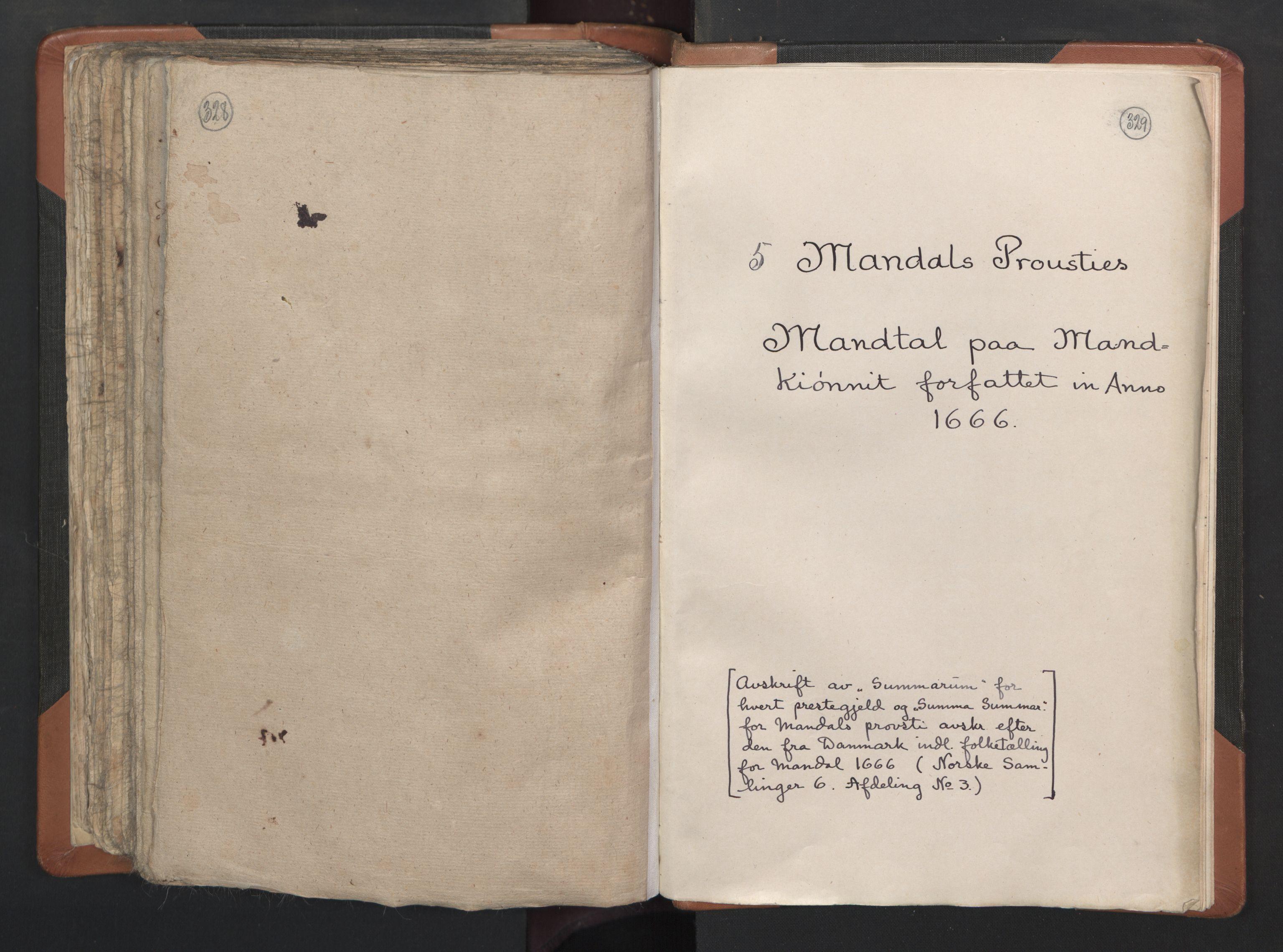 RA, Sogneprestenes manntall 1664-1666, nr. 15: Mandal prosti, 1664-1666, s. 328-329