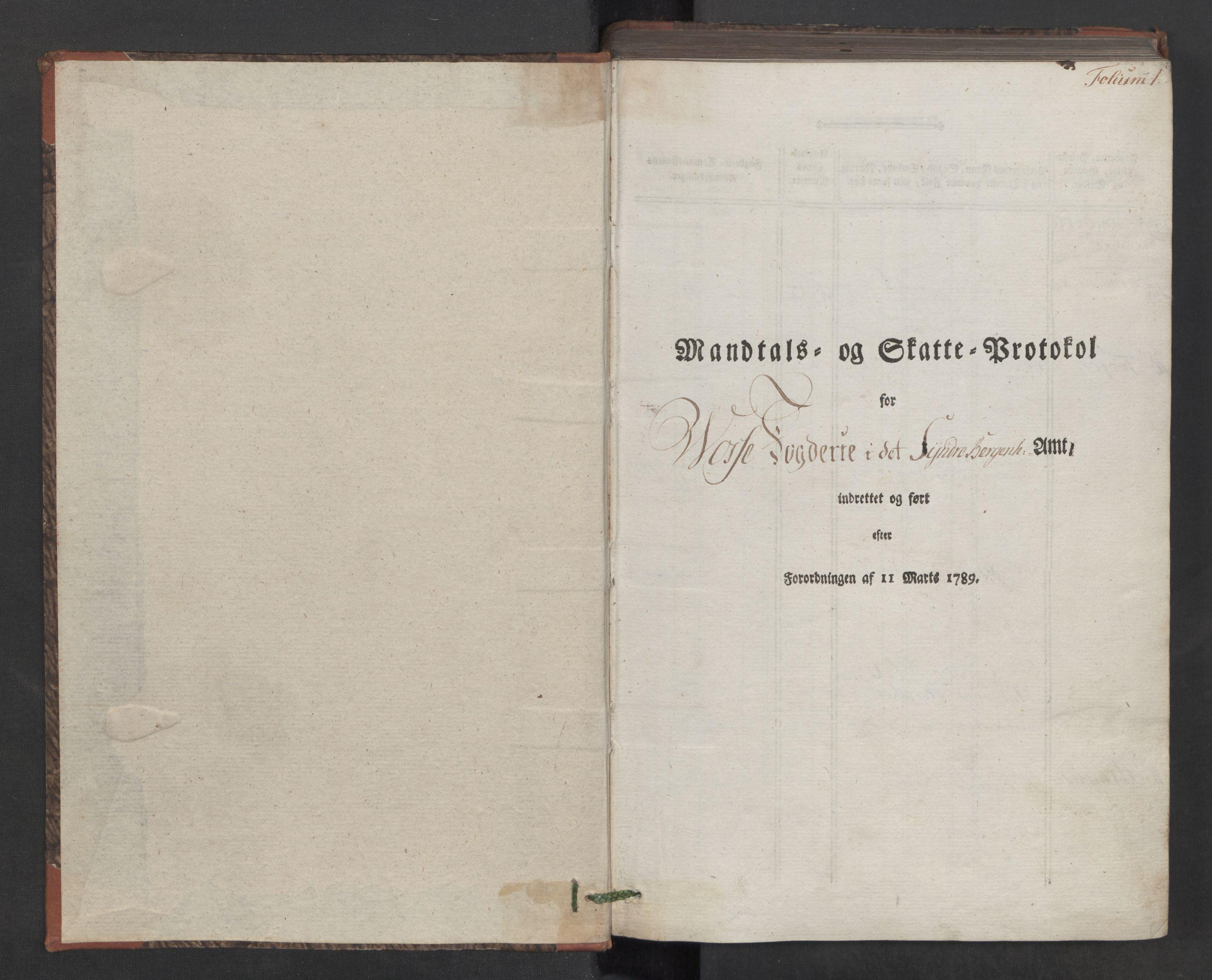 RA, Rentekammeret inntil 1814, Reviderte regnskaper, Mindre regnskaper, Rf/Rfe/L0030: Nordhordland og Voss fogderi, 1789, s. 1