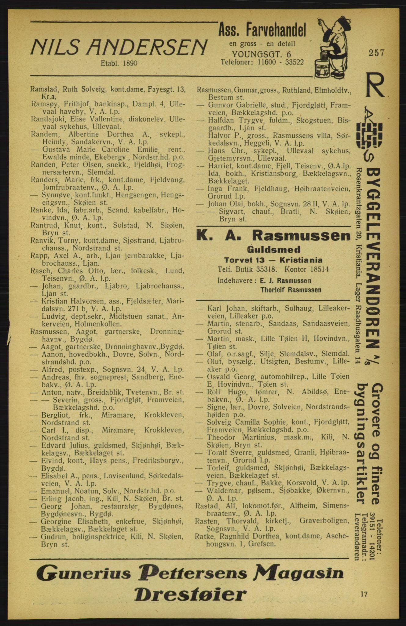 PUBL, Aker adressebok/adressekalender, 1922, s. 257