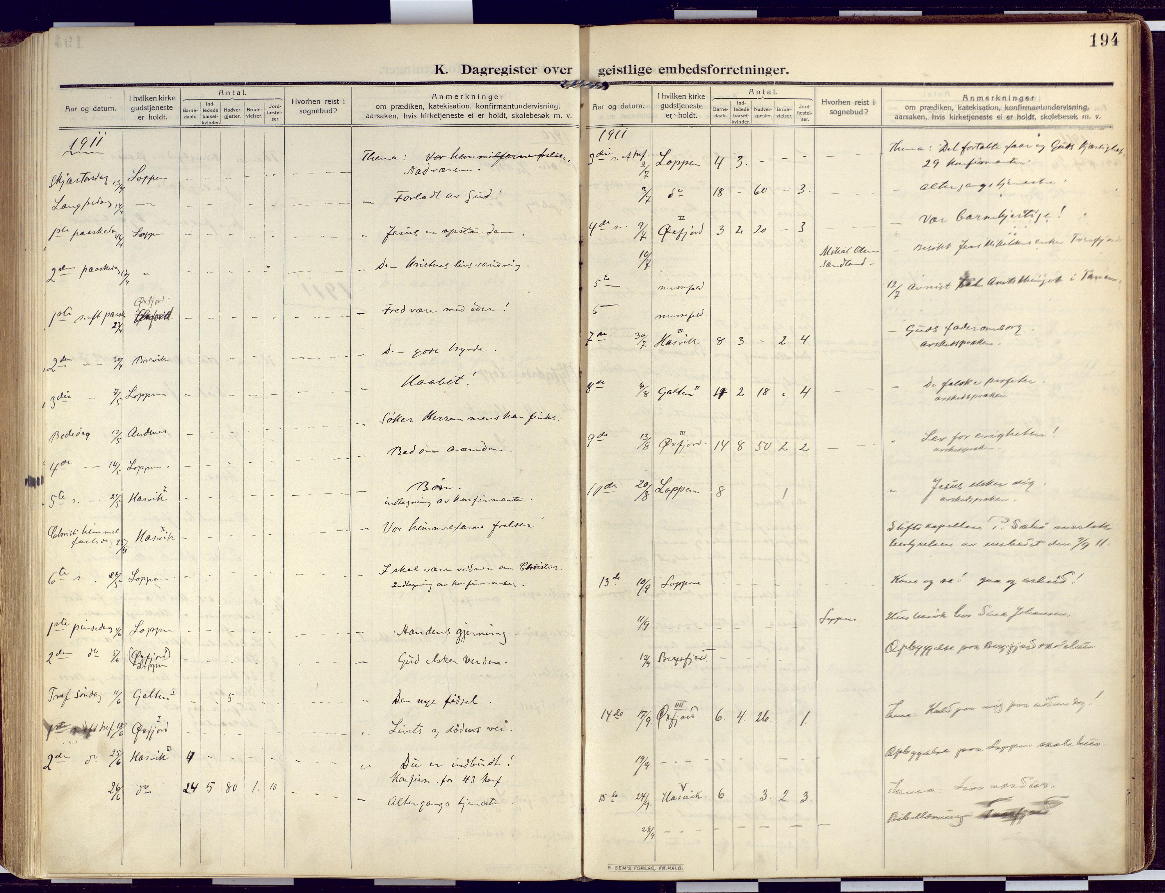 SATØ, Loppa sokneprestkontor, H/Ha/L0011kirke: Ministerialbok nr. 11, 1909-1919, s. 194