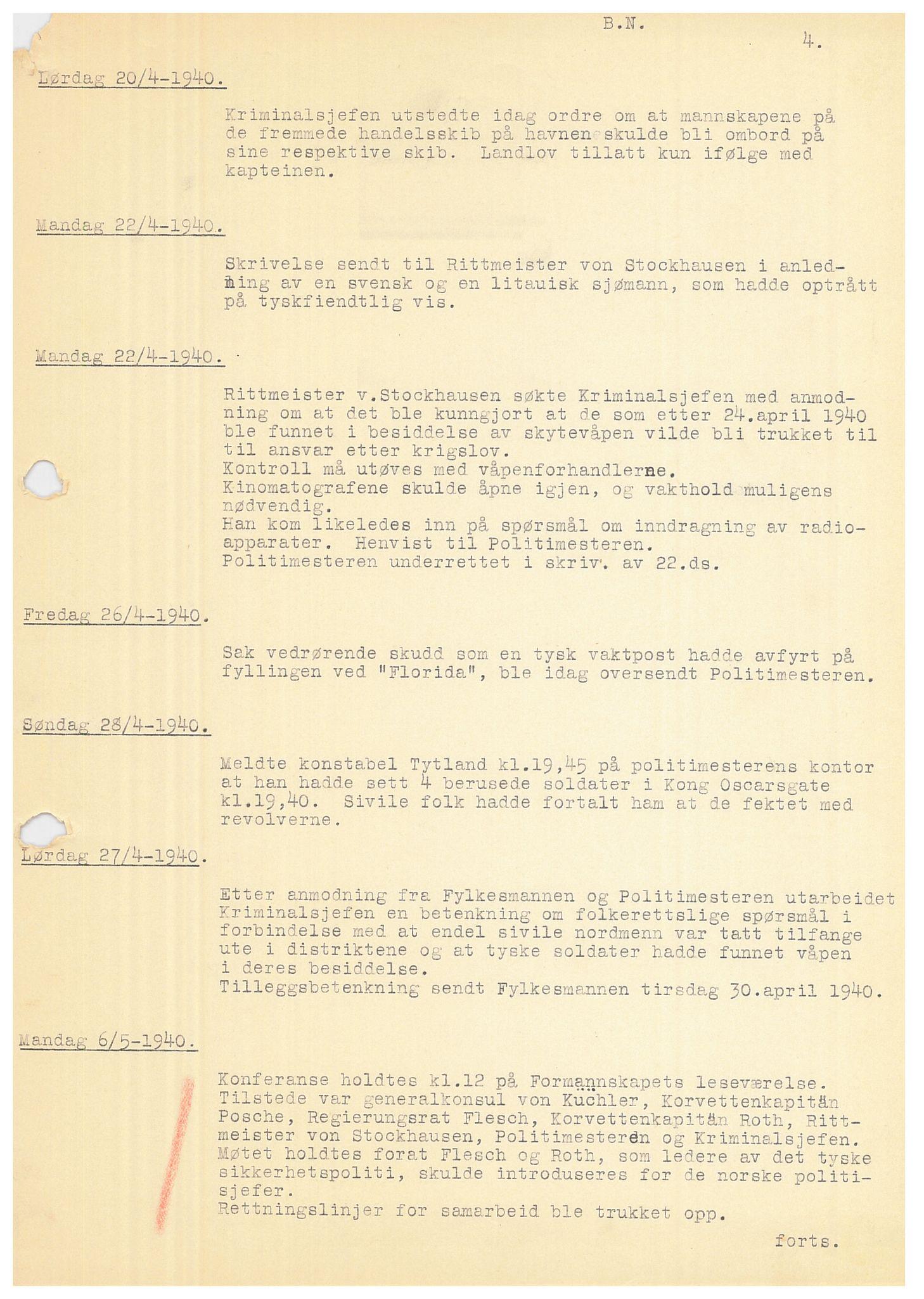 SAB, Bergen politidistrikt, Y/Ye/L0001: Avskrift av krigsdagbok av Dankert Thuland, 1940-1941, s. 4