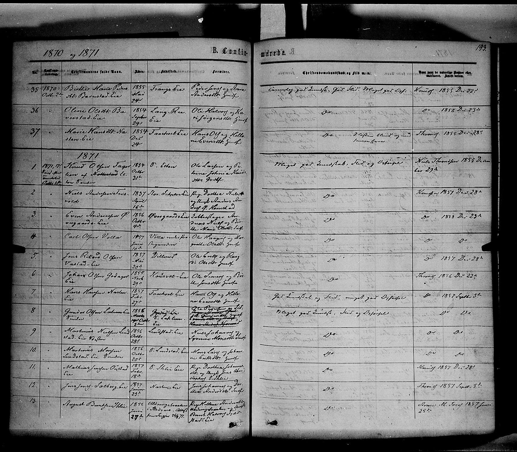 SAH, Stange prestekontor, K/L0013: Ministerialbok nr. 13, 1862-1879, s. 193