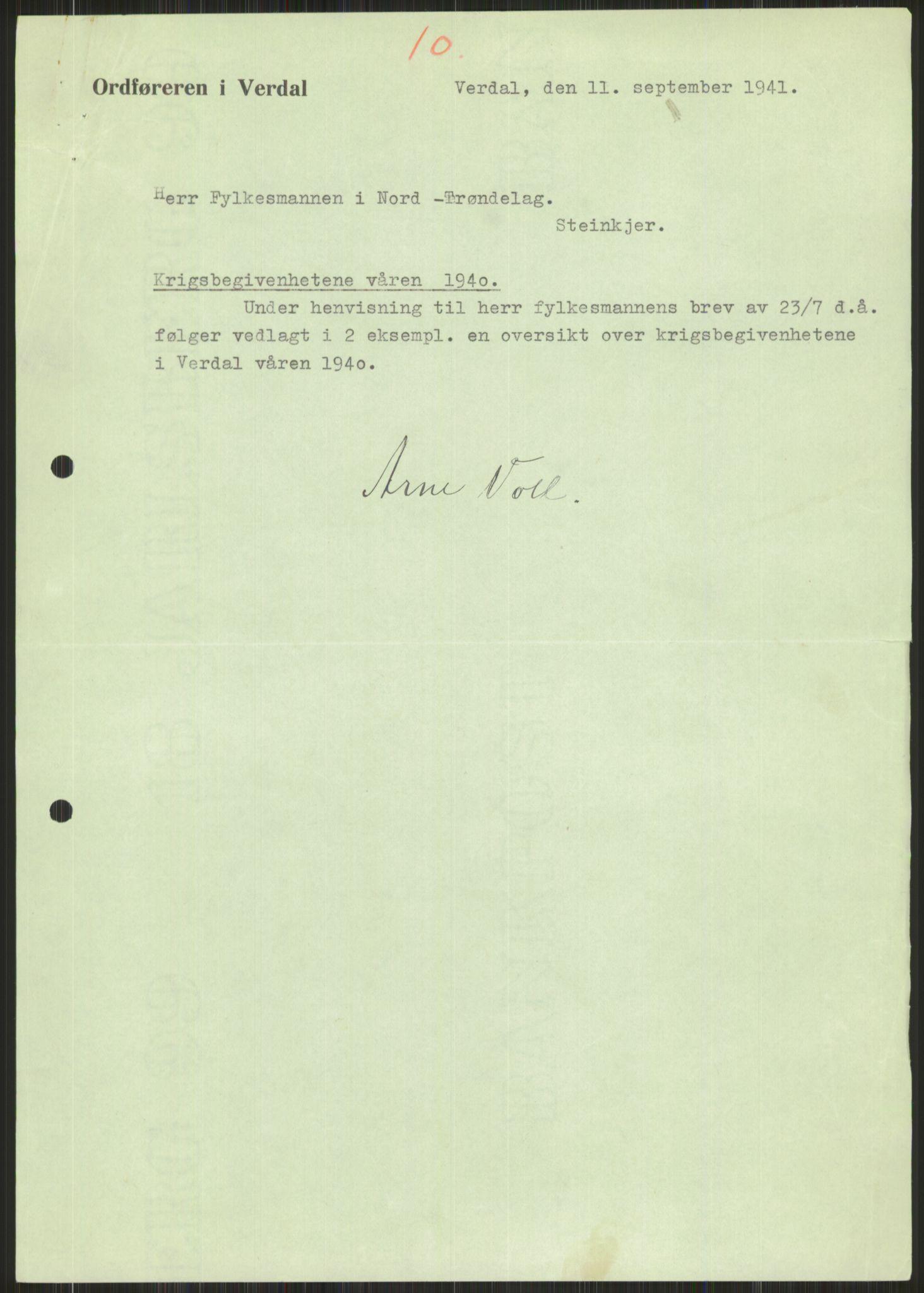 RA, Forsvaret, Forsvarets krigshistoriske avdeling, Y/Ya/L0016: II-C-11-31 - Fylkesmenn.  Rapporter om krigsbegivenhetene 1940., 1940, s. 592