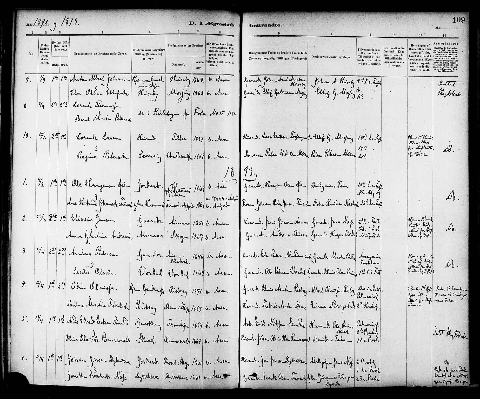 SAT, Ministerialprotokoller, klokkerbøker og fødselsregistre - Nord-Trøndelag, 714/L0130: Ministerialbok nr. 714A01, 1878-1895, s. 109