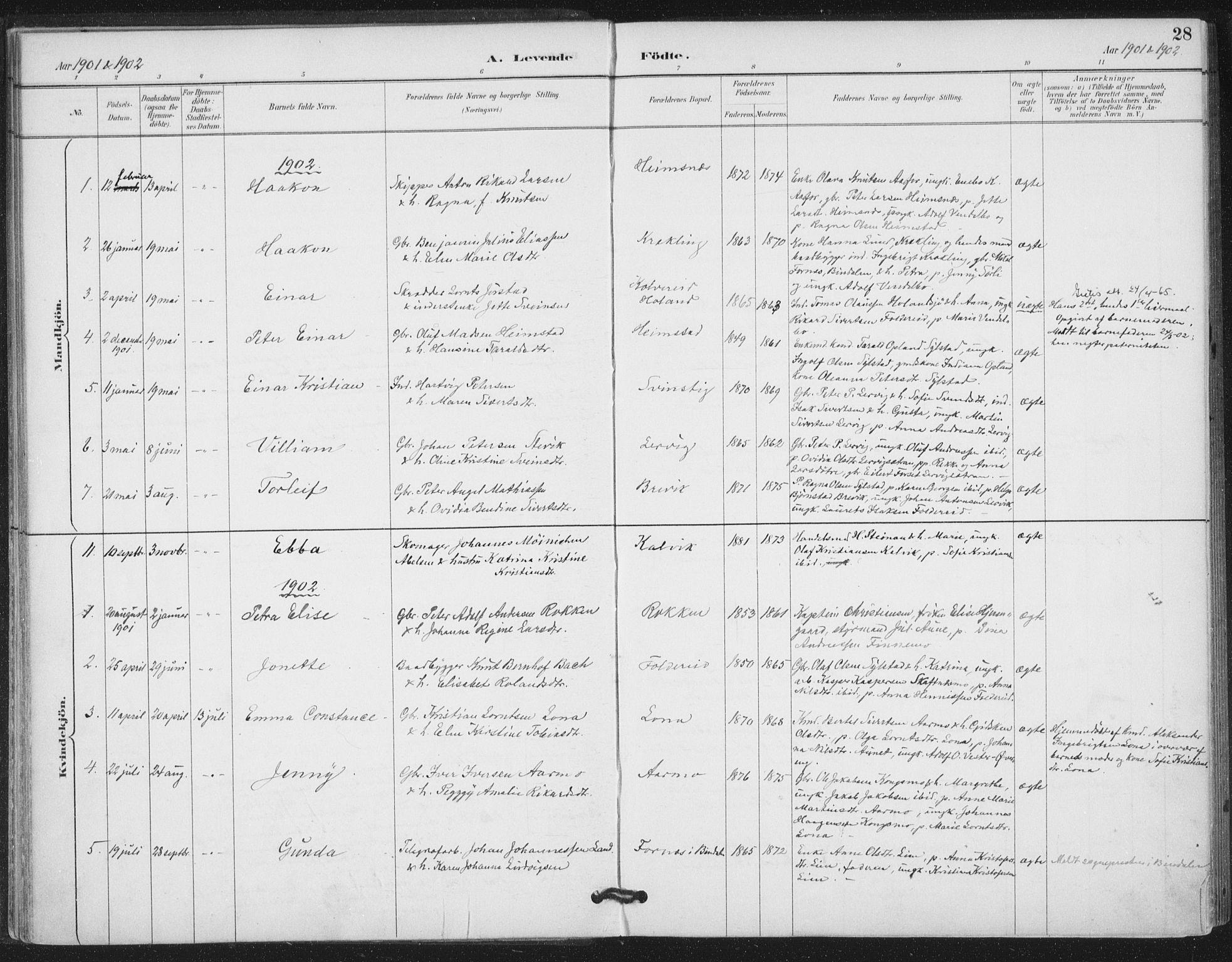 SAT, Ministerialprotokoller, klokkerbøker og fødselsregistre - Nord-Trøndelag, 783/L0660: Ministerialbok nr. 783A02, 1886-1918, s. 28