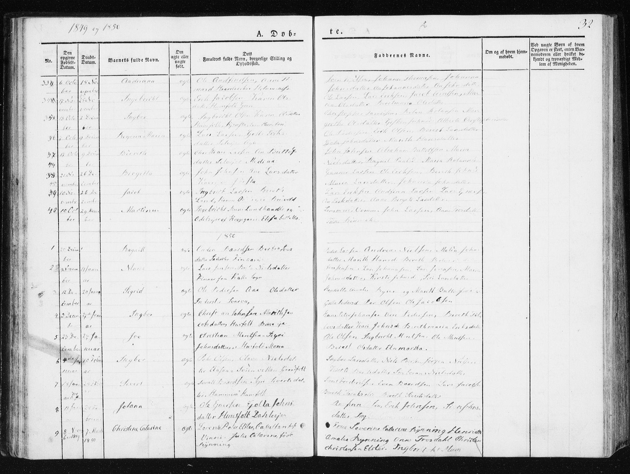 SAT, Ministerialprotokoller, klokkerbøker og fødselsregistre - Nord-Trøndelag, 749/L0470: Ministerialbok nr. 749A04, 1834-1853, s. 32