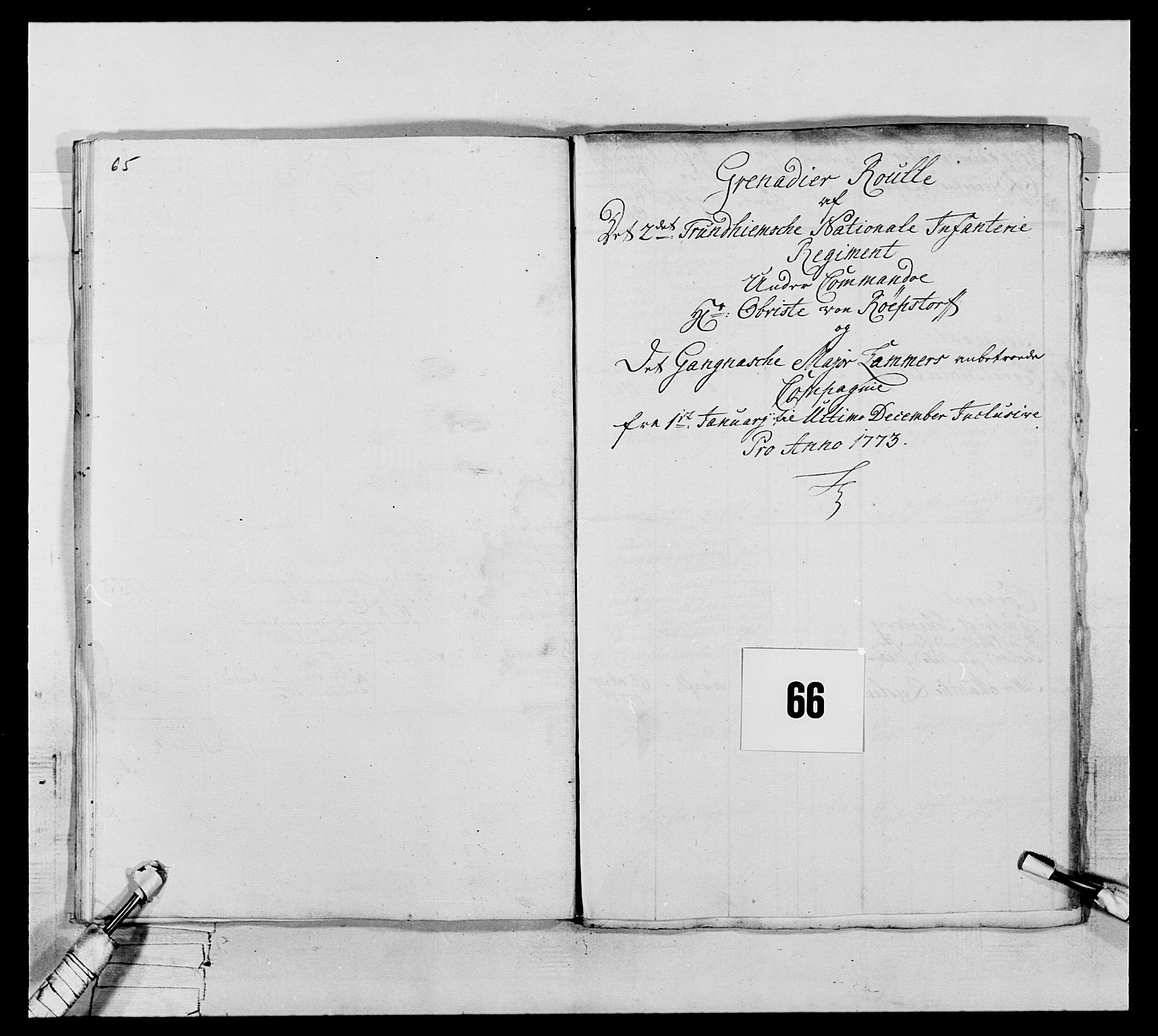 RA, Generalitets- og kommissariatskollegiet, Det kongelige norske kommissariatskollegium, E/Eh/L0076: 2. Trondheimske nasjonale infanteriregiment, 1766-1773, s. 254