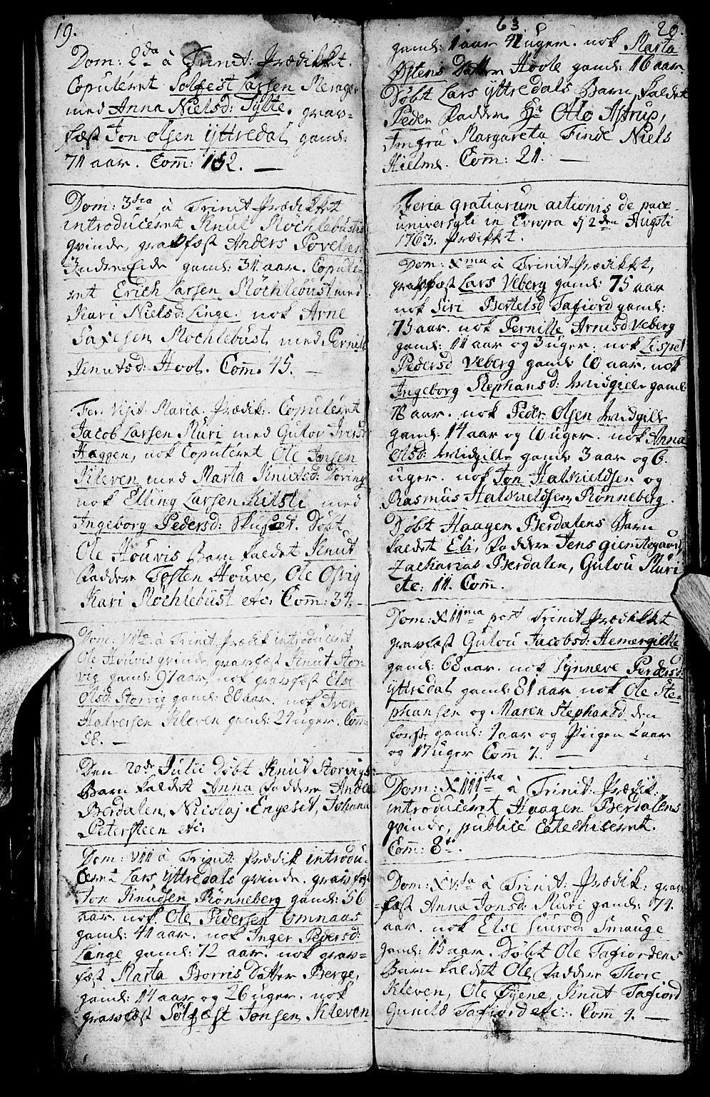 SAT, Ministerialprotokoller, klokkerbøker og fødselsregistre - Møre og Romsdal, 519/L0243: Ministerialbok nr. 519A02, 1760-1770, s. 19-20