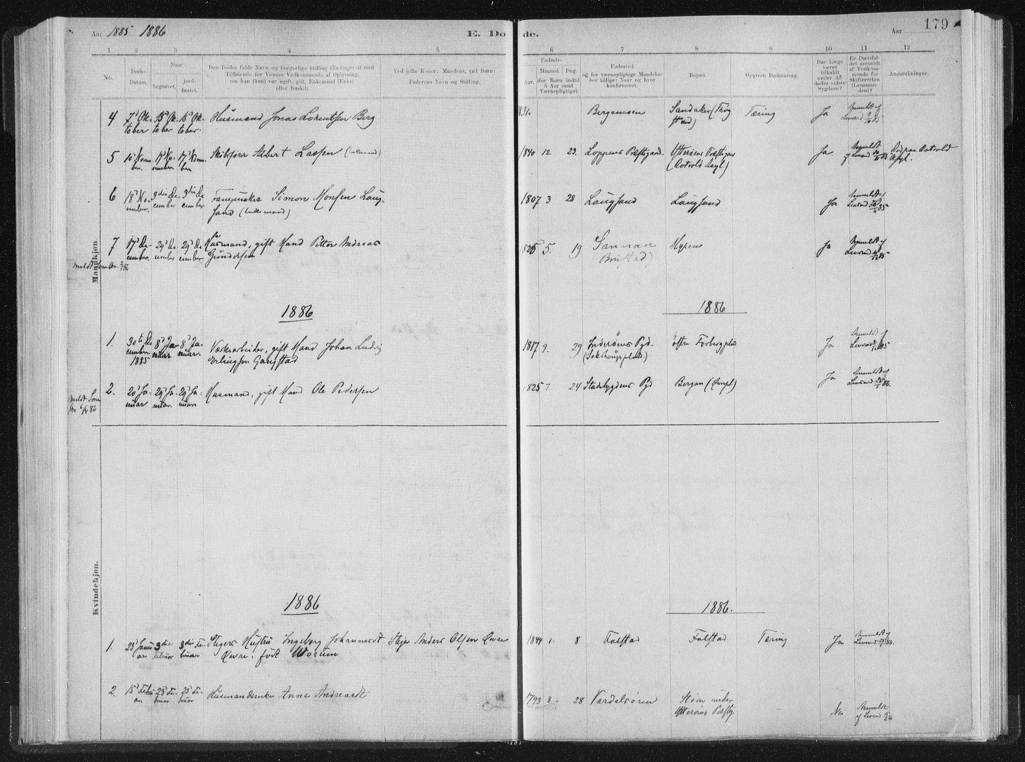 SAT, Ministerialprotokoller, klokkerbøker og fødselsregistre - Nord-Trøndelag, 722/L0220: Ministerialbok nr. 722A07, 1881-1908, s. 179