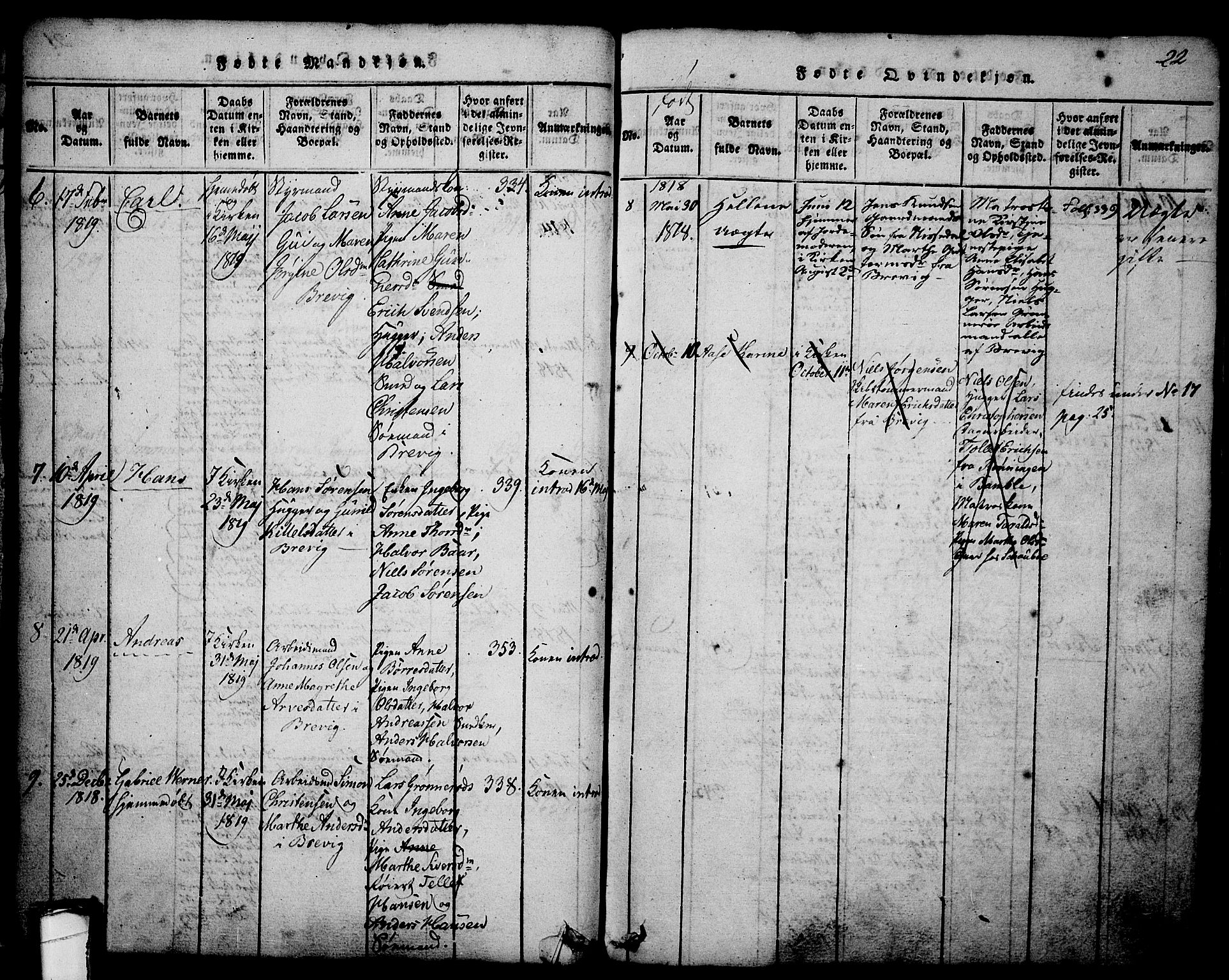 SAKO, Brevik kirkebøker, G/Ga/L0001: Klokkerbok nr. 1, 1814-1845, s. 22