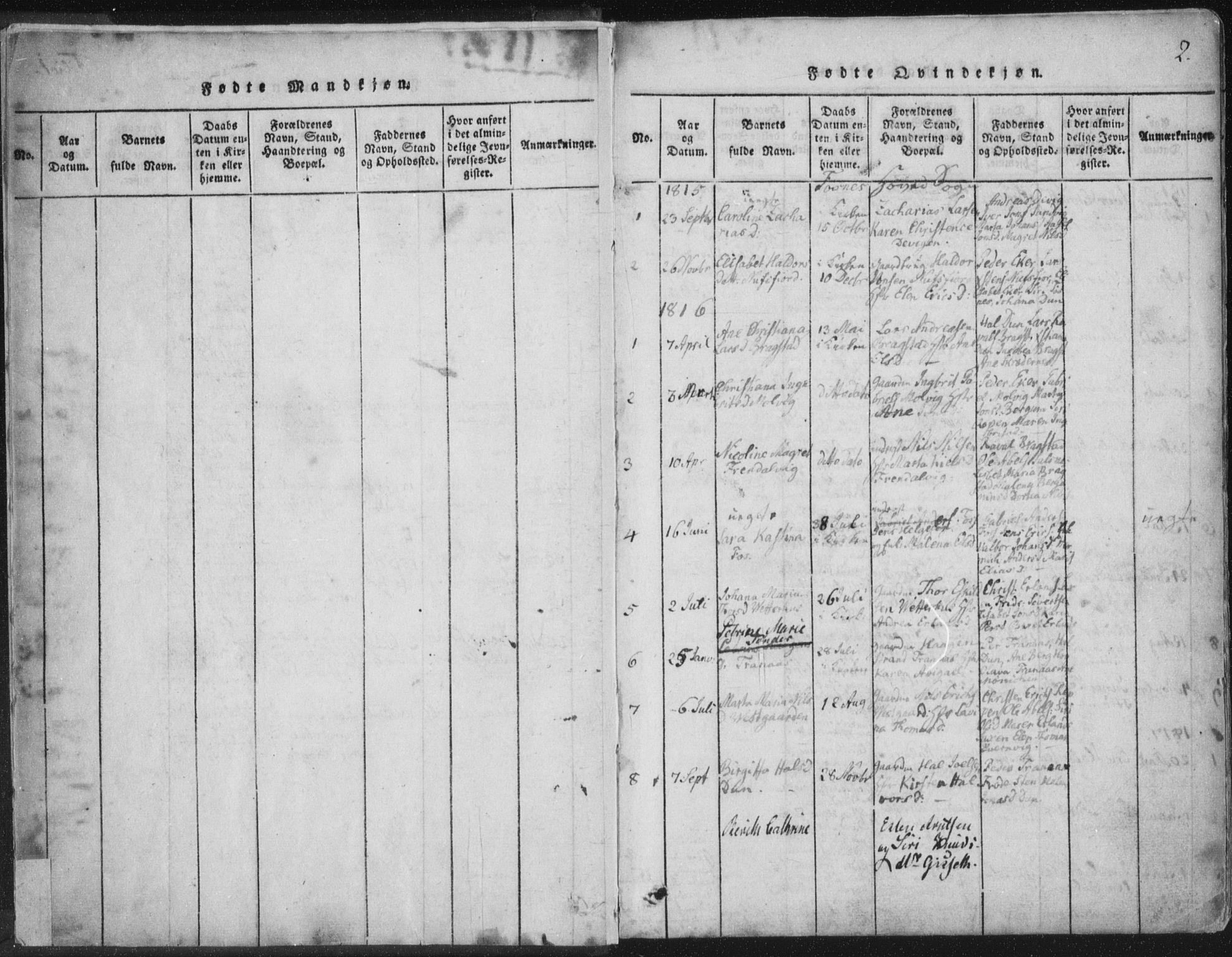 SAT, Ministerialprotokoller, klokkerbøker og fødselsregistre - Nord-Trøndelag, 773/L0609: Ministerialbok nr. 773A03 /1, 1815-1830, s. 2
